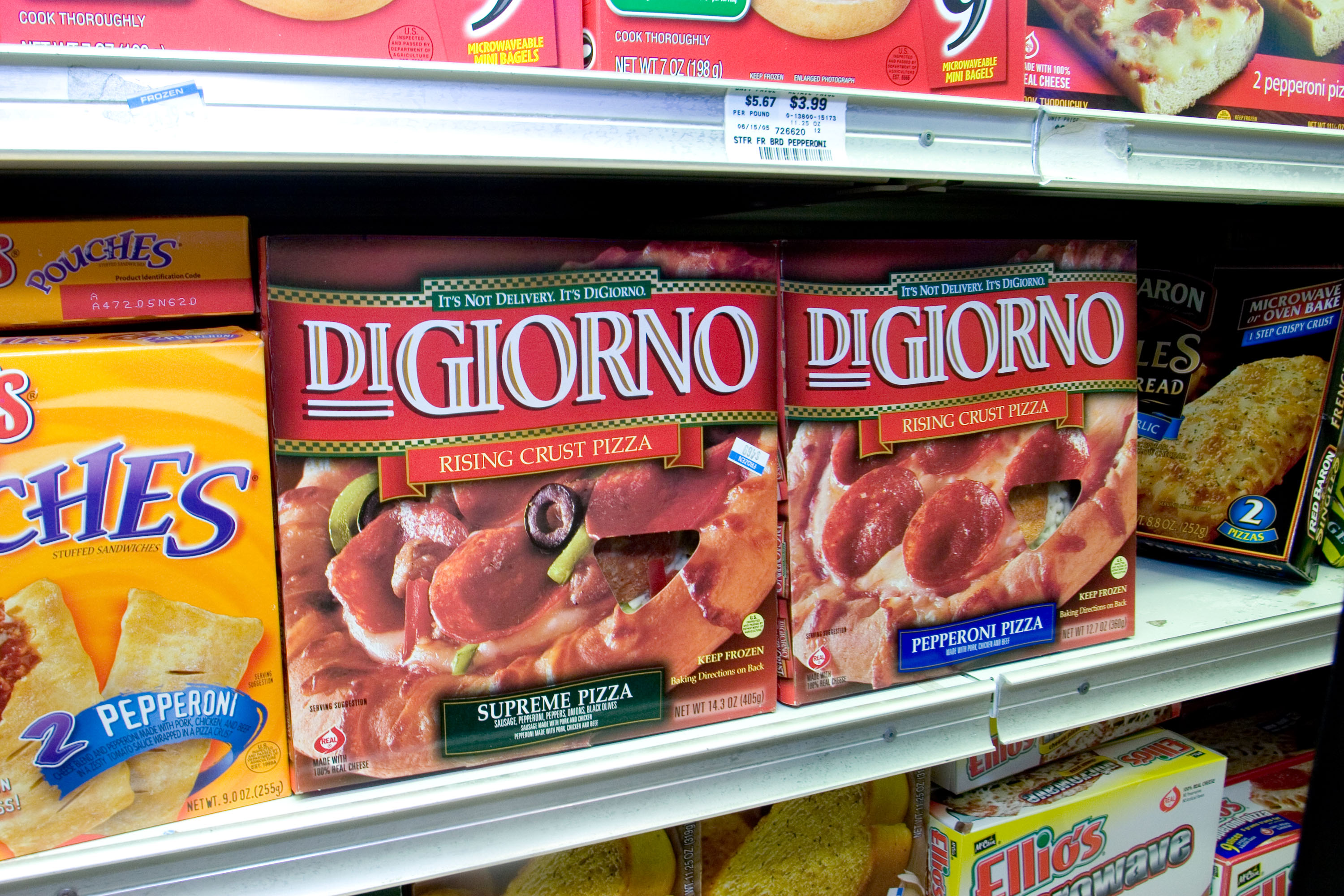 DiGiorno Pizzas are displayed at an Associated Supermarket in New York