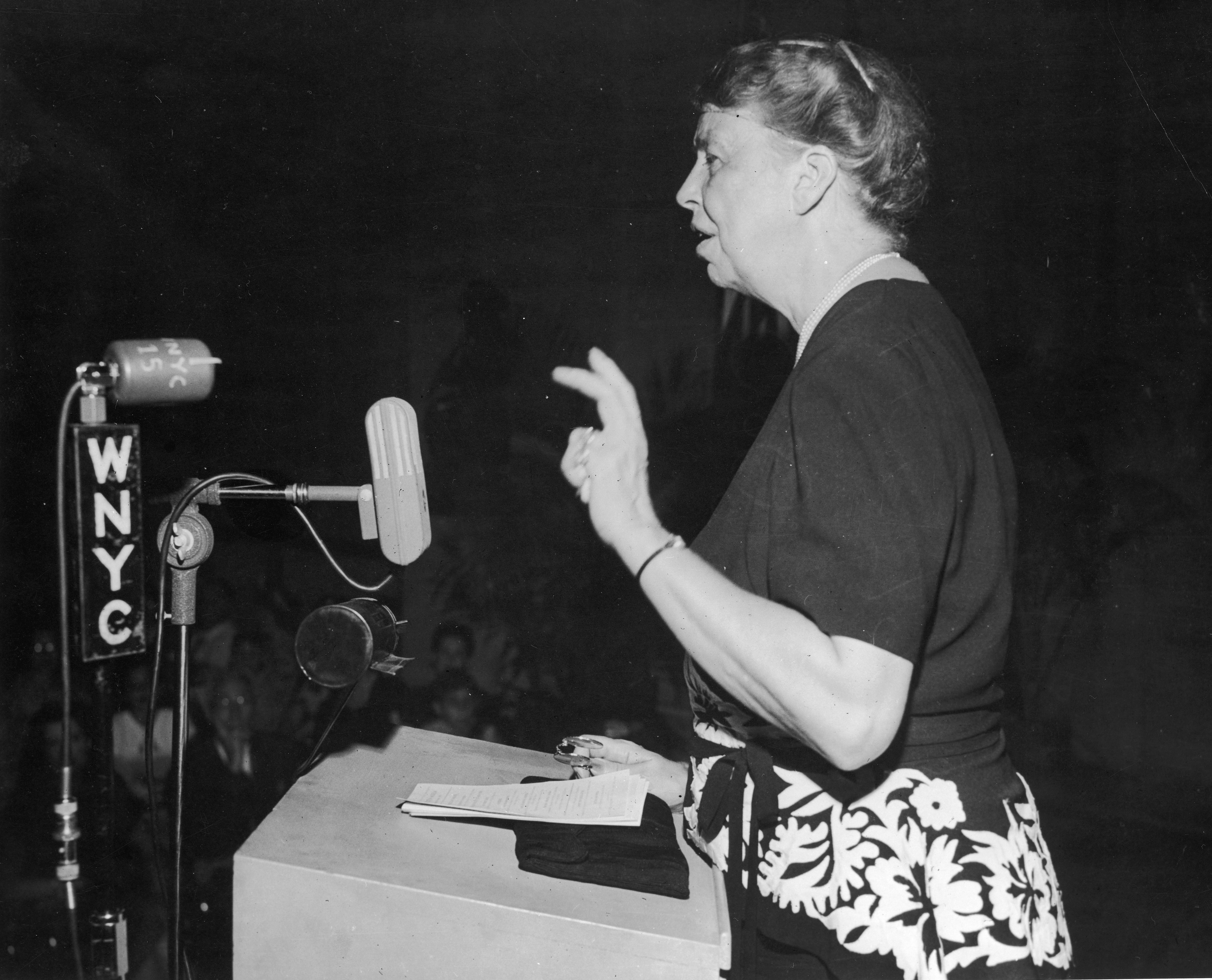 Eleanor Roosevelt giving a speech, October 8,1946.