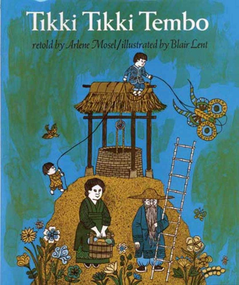 Tikki Tikki Tembo, by Arlene Mosel, illustrations by Blair Lent.                                                                                                                            In this retelling of a folktale, a young boy with a ridiculously long name falls into a well.                                                                                                                            Buy now: Tikki Tikki Tembo