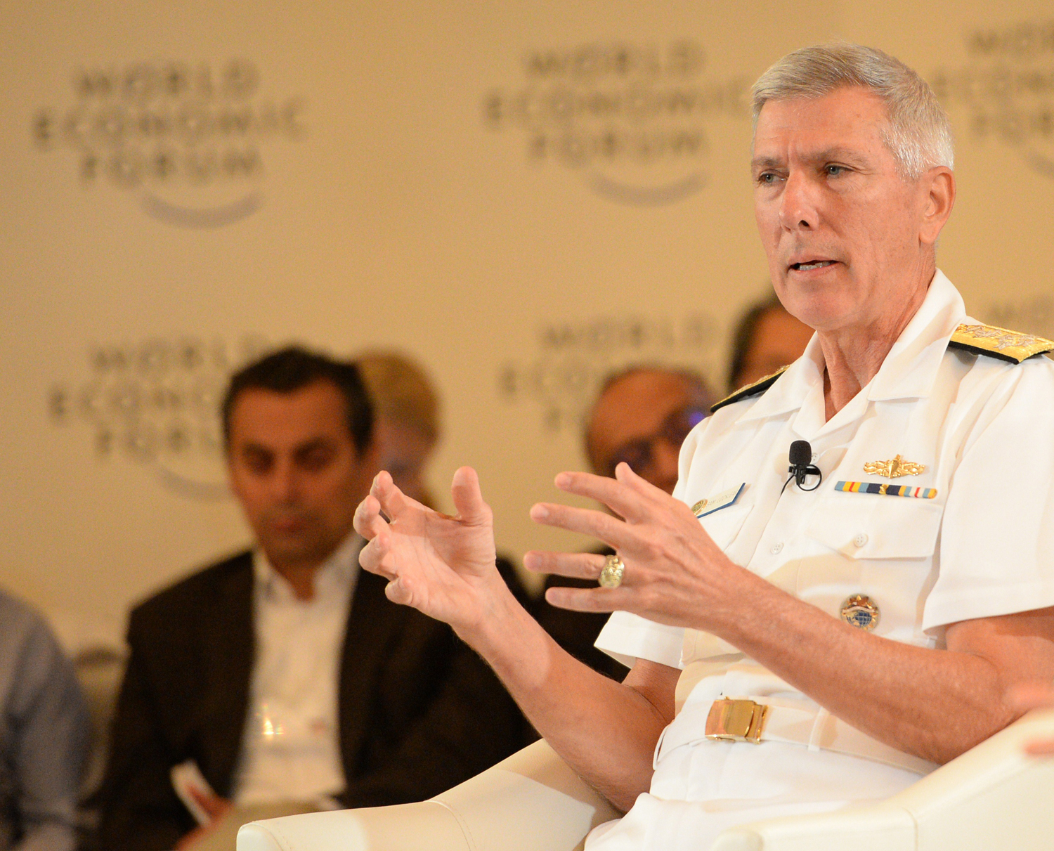 Admiral Samuel Locklear, U.S. Pacific Fleet Command commander, speaks during a session of the World Economic Forum on East Asia in Manila on May 23, 2014