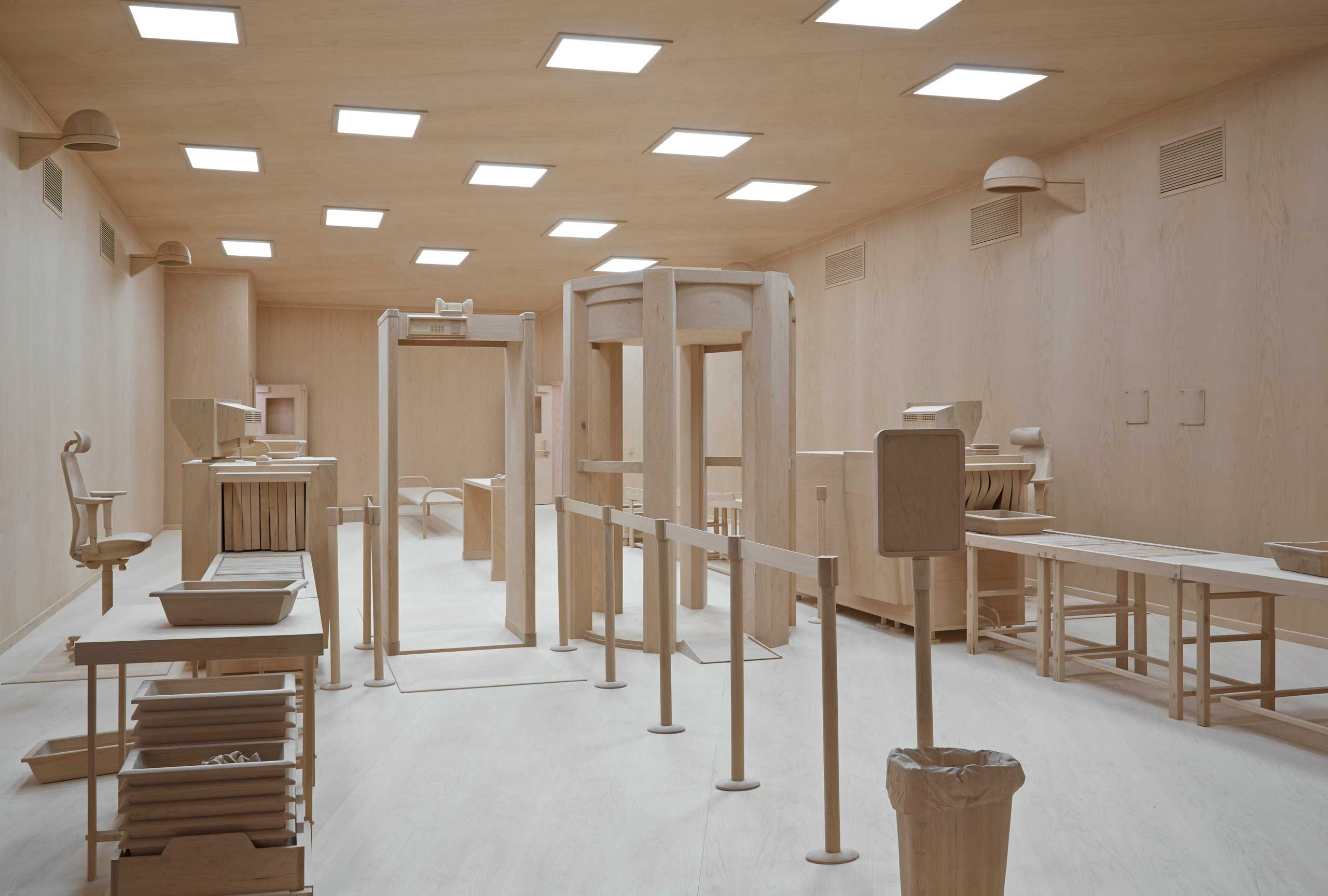 Artist Roxy Paine's installation depicts an airport checkpoint.
