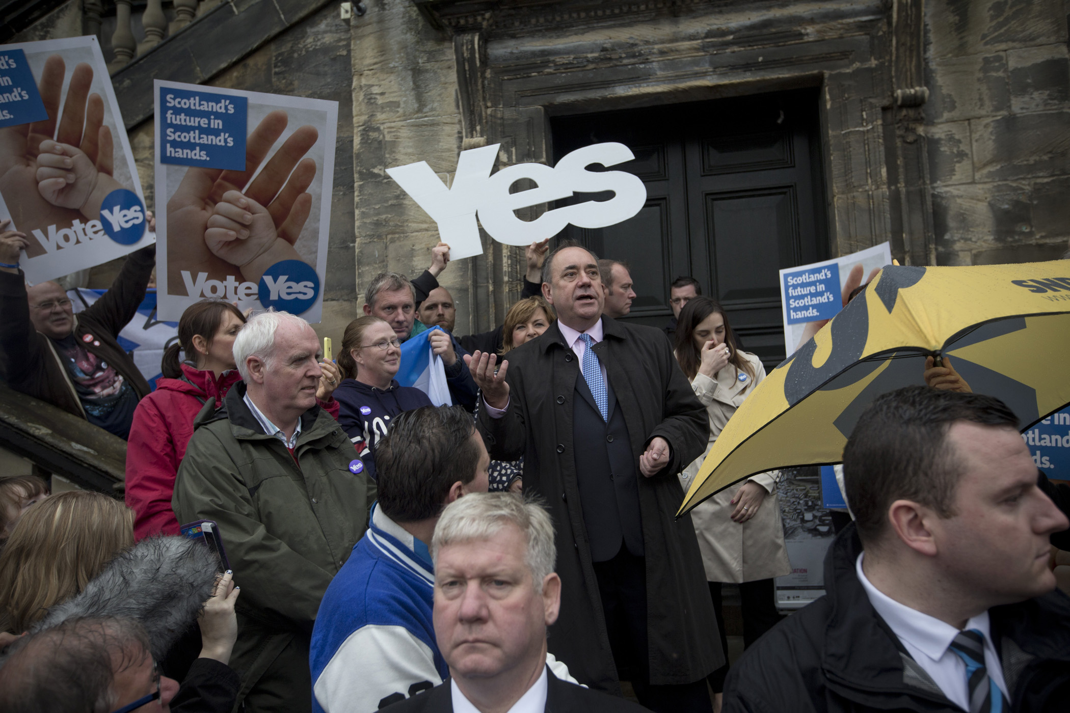 Scotland's First Minister Alex Salmond MSP, speaking to pro-independence supporters from the steps of the Burgh Hall in his home town of Linlithgow, West Lothian, Sept, 15, 2014.