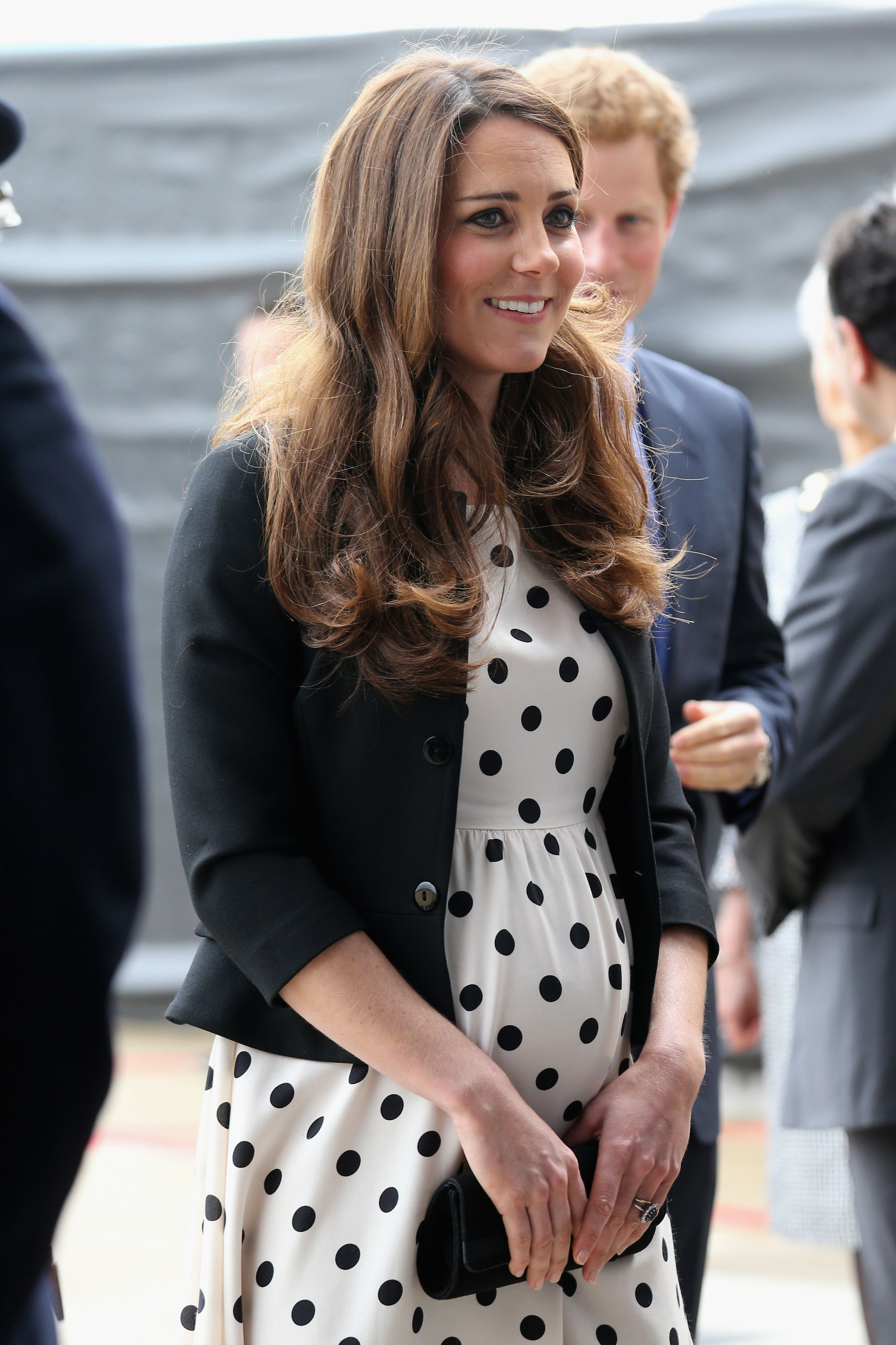 Catherine, Duchess of Cambridge arrives for her visit to Warner Bros studios in Leavesden, Herts where the popular Harry Potter movies were produced on April 26, 2013.