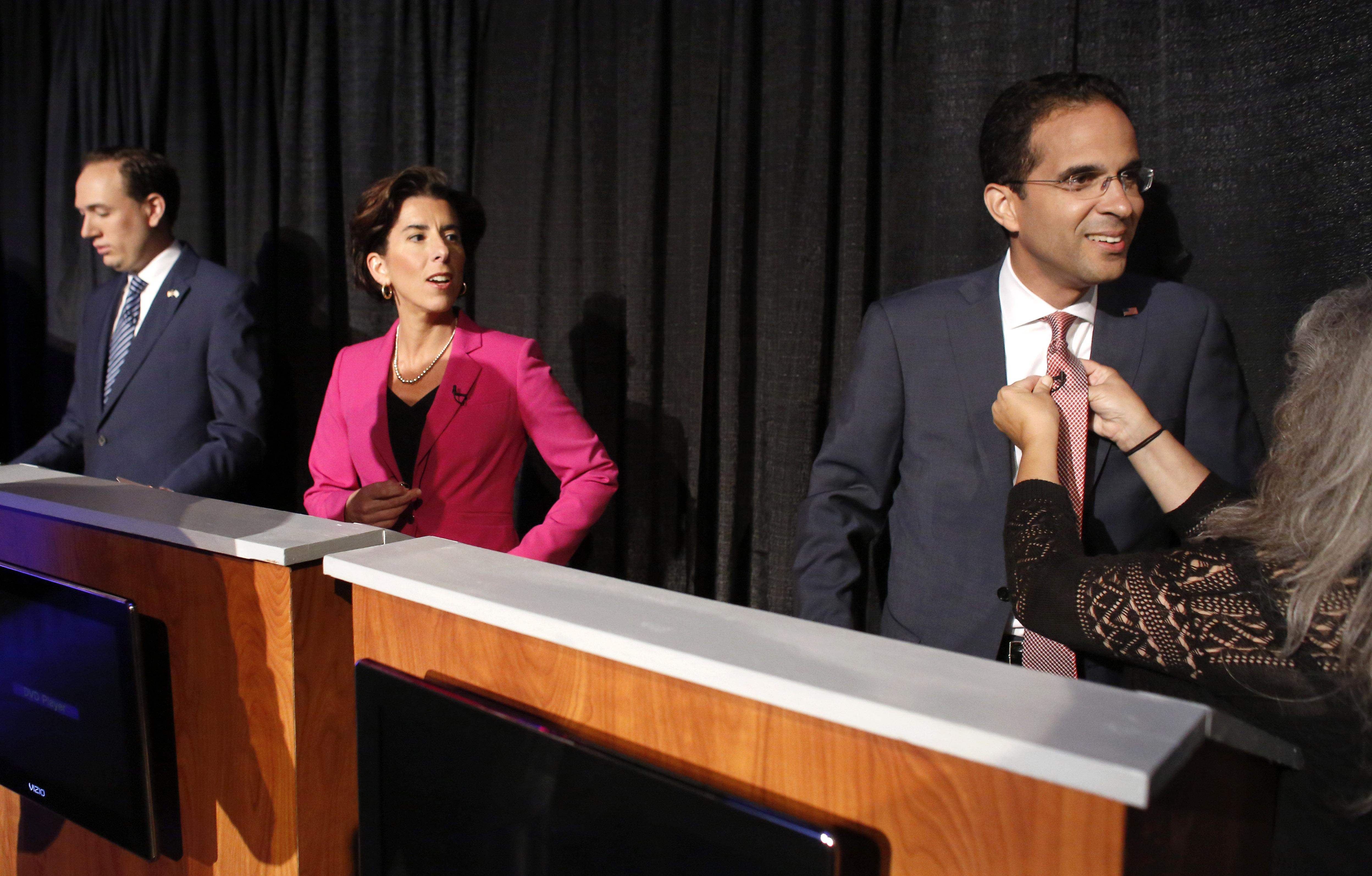 Rhode Island Democratic gubernatorial hopefuls, from the left, Clay Pell, Gina Raimondo and Angel Taveras.