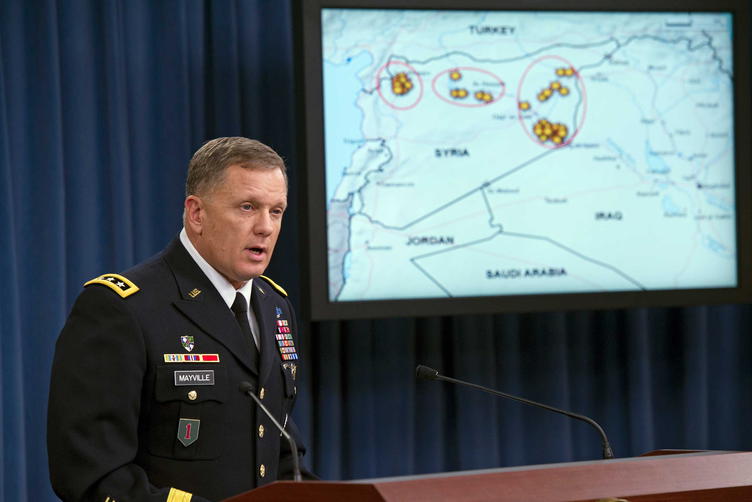 Army Lt. Gen. William Mayville, Jr., Director of Operations J3, speaks about the operations in Syria, Sept. 23, 2014, during a news conference at the Pentagon.