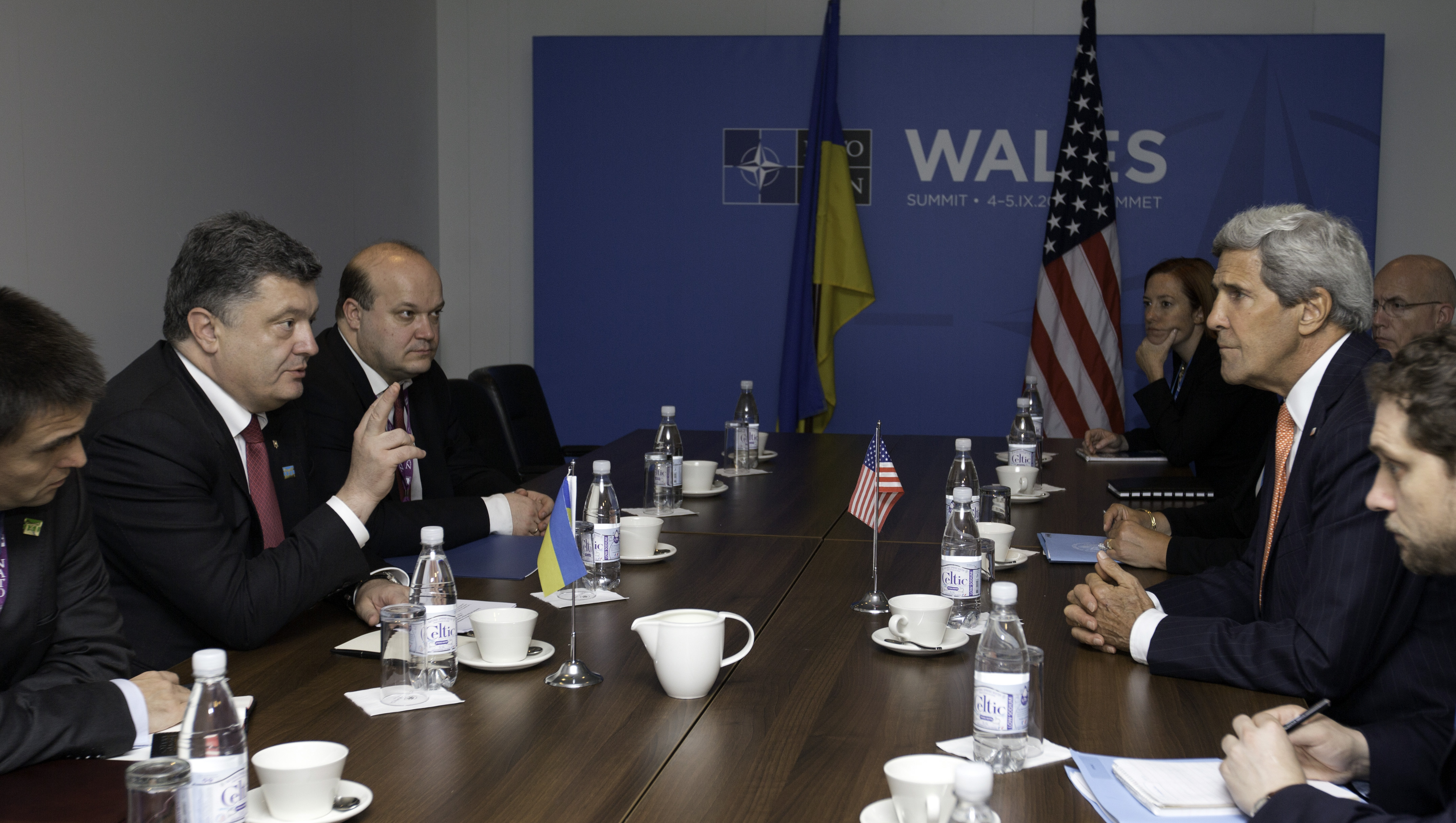 U.S. Secretary of State John Kerry, third right, meets with Ukrainian President Petro Poroshenko, second left, on the sidelines of the NATO summit at the Celtic Manor Resort in Newport, Wales on Thursday, Sept. 4, 2014.