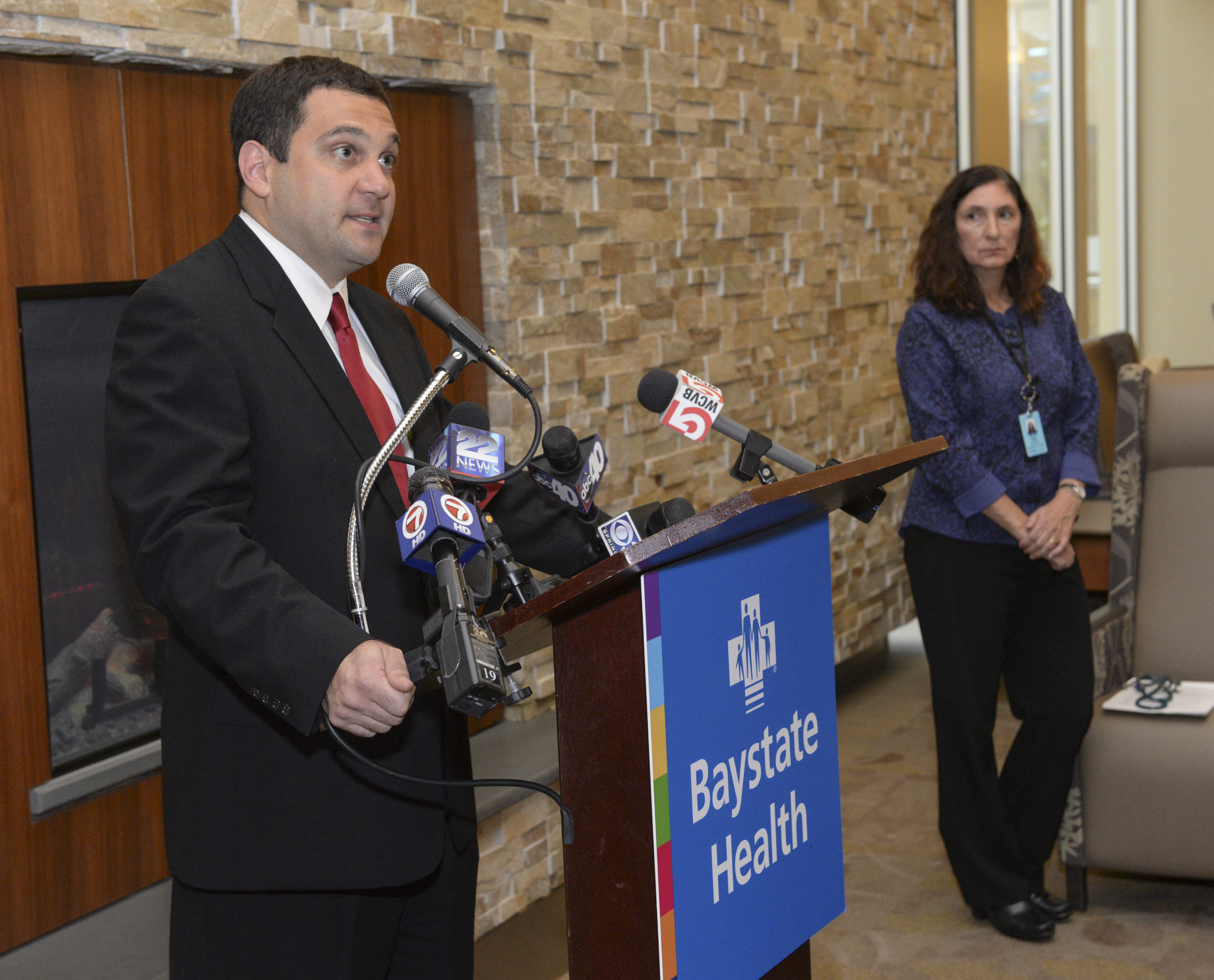 Dr. Michael Klatte, left, pediatric infectious disease specialist and Dr. Donna Fisher, chief of infectious diseases at Baystate Children's Hospital  during  a news conference there on the local impact of the Enterovirus D68, Thursday, Sept. 18, 2014.