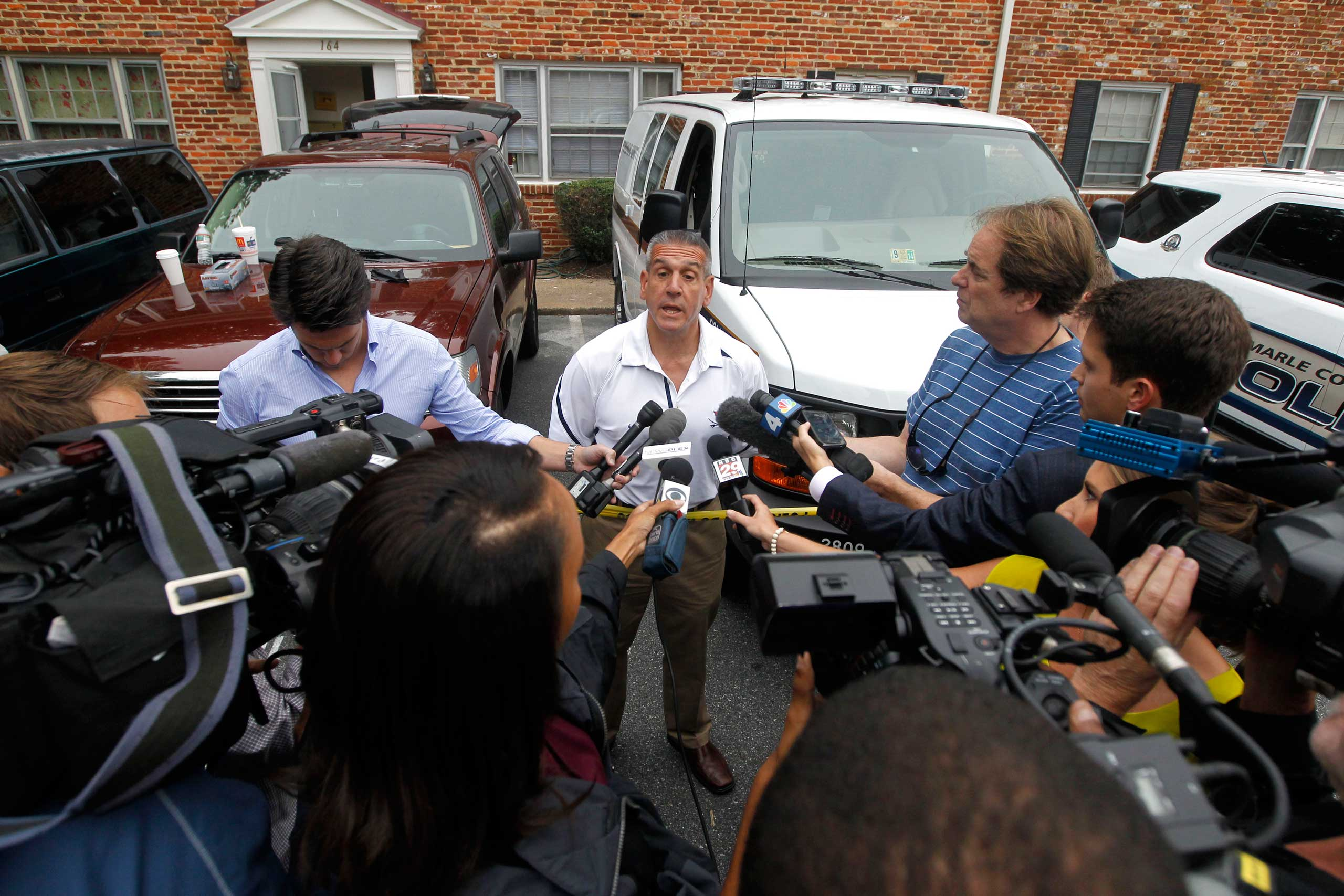 Police Chief Timothy J. Longo speaks with reporters at a Hessian Hills apartment as the search for missing University of Virginia student Hannah Graham continues, Sept. 19, 2014 in Charlottesville, Va.