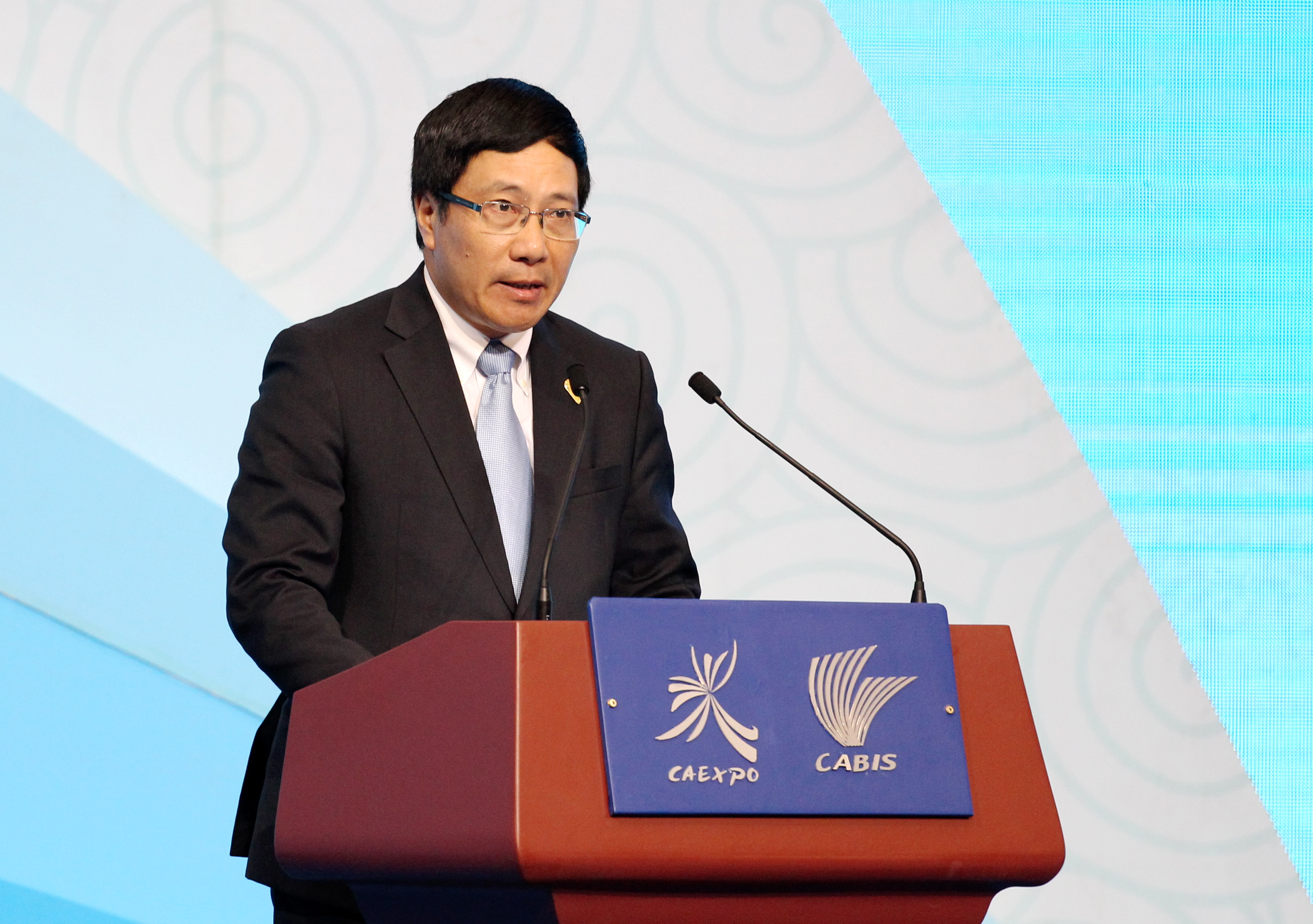 Vietnamese Deputy Prime Minister and Foreign Minister Pham Binh Minh delivers a speech at the opening ceremony of the 11th China-ASEAN Expo and the 11th China-ASEAN Business and Investment Summit in Nanning, China, on Sept.16, 2014
