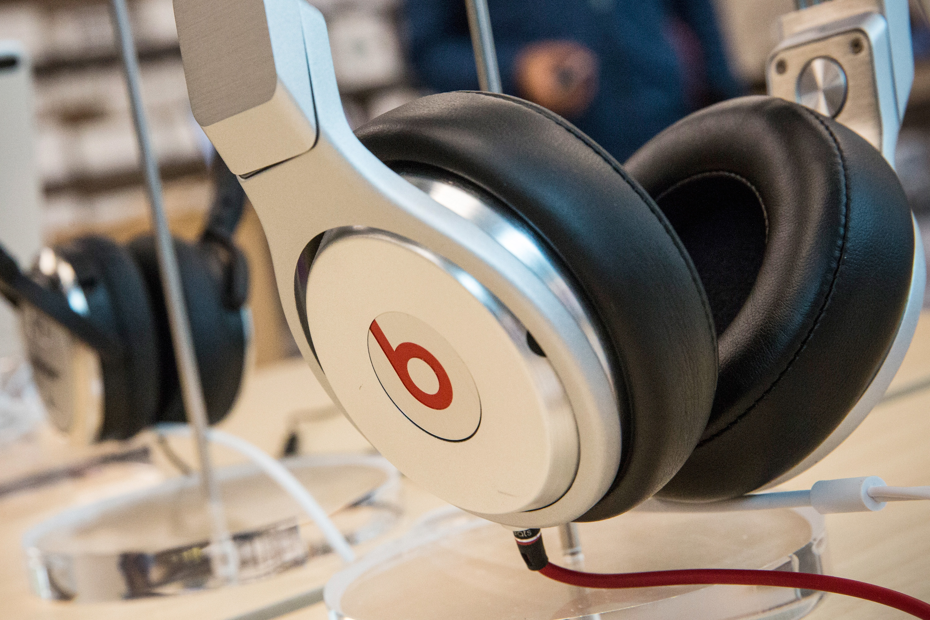Beats headphones are sold in an Apple store on May 9, 2014 in New York City.