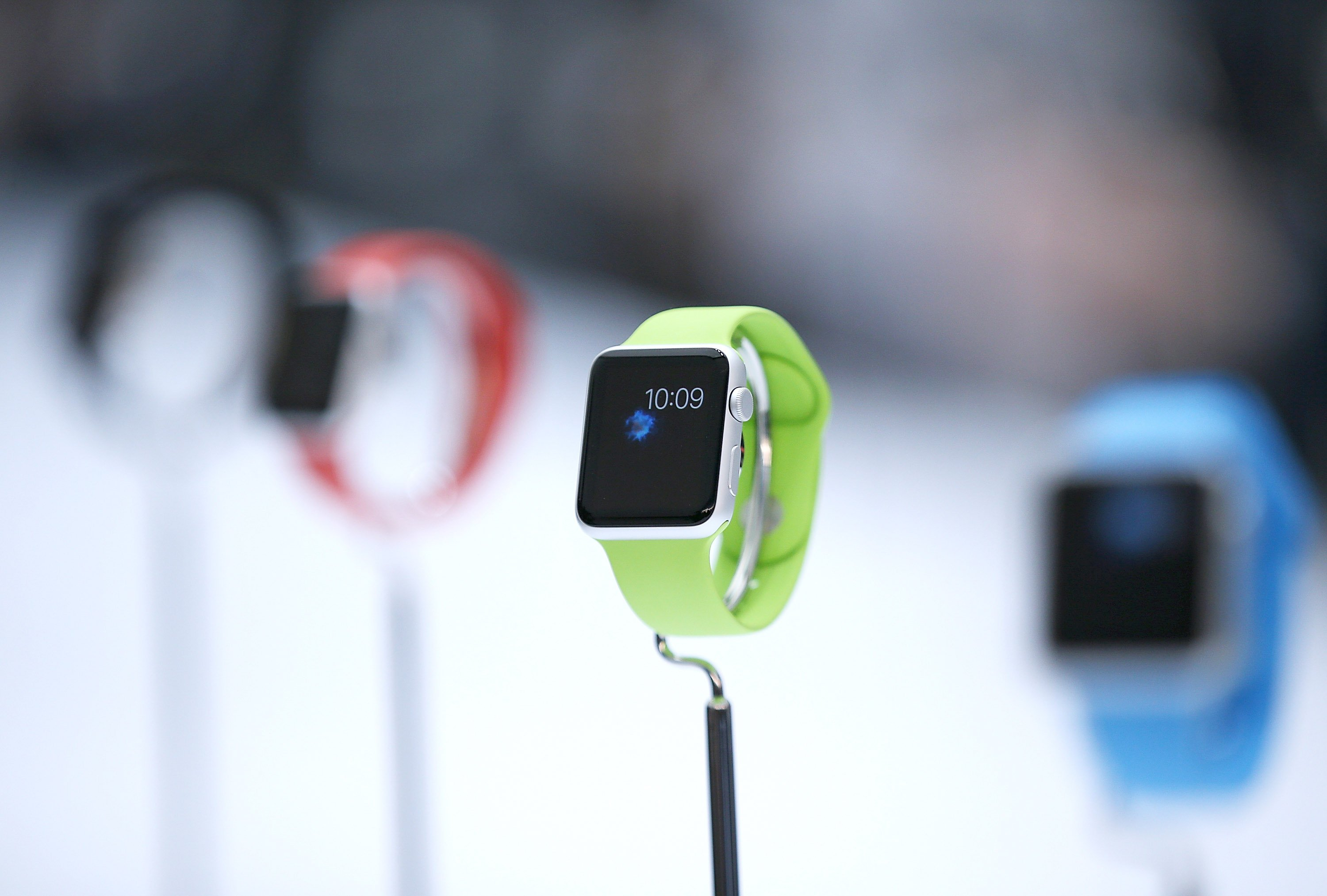 The new Apple Watch is displayed during an Apple special event at the Flint Center for the Performing Arts on Sept. 9, 2014 in Cupertino, Calif.