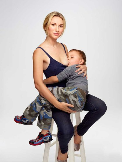 "Jamie Lynne Grumet of Los Angeles and her son, age 3.""I donÕt consider breast-feeding immodest at all. IÕm not shy about doing it in public."""