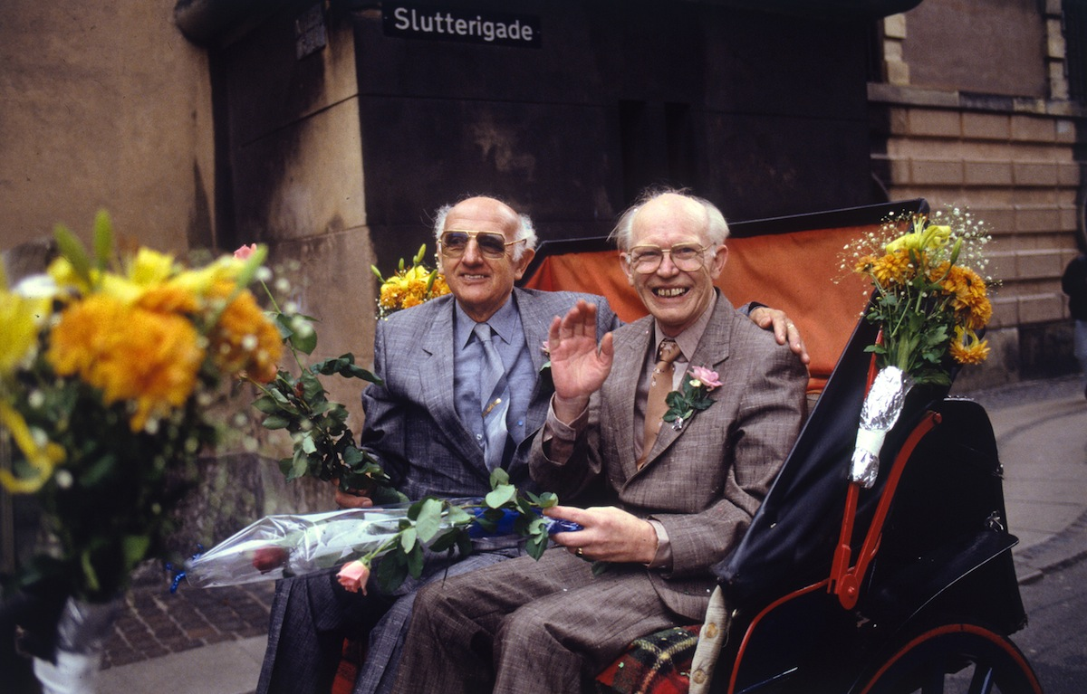 A file picture taken October 1, 1989 shows Denmark's Axel Axgil (L) and Eigil Eskildsen (R) on their Oct. 1, 1989, union, when they became the first registered gay partners in the world