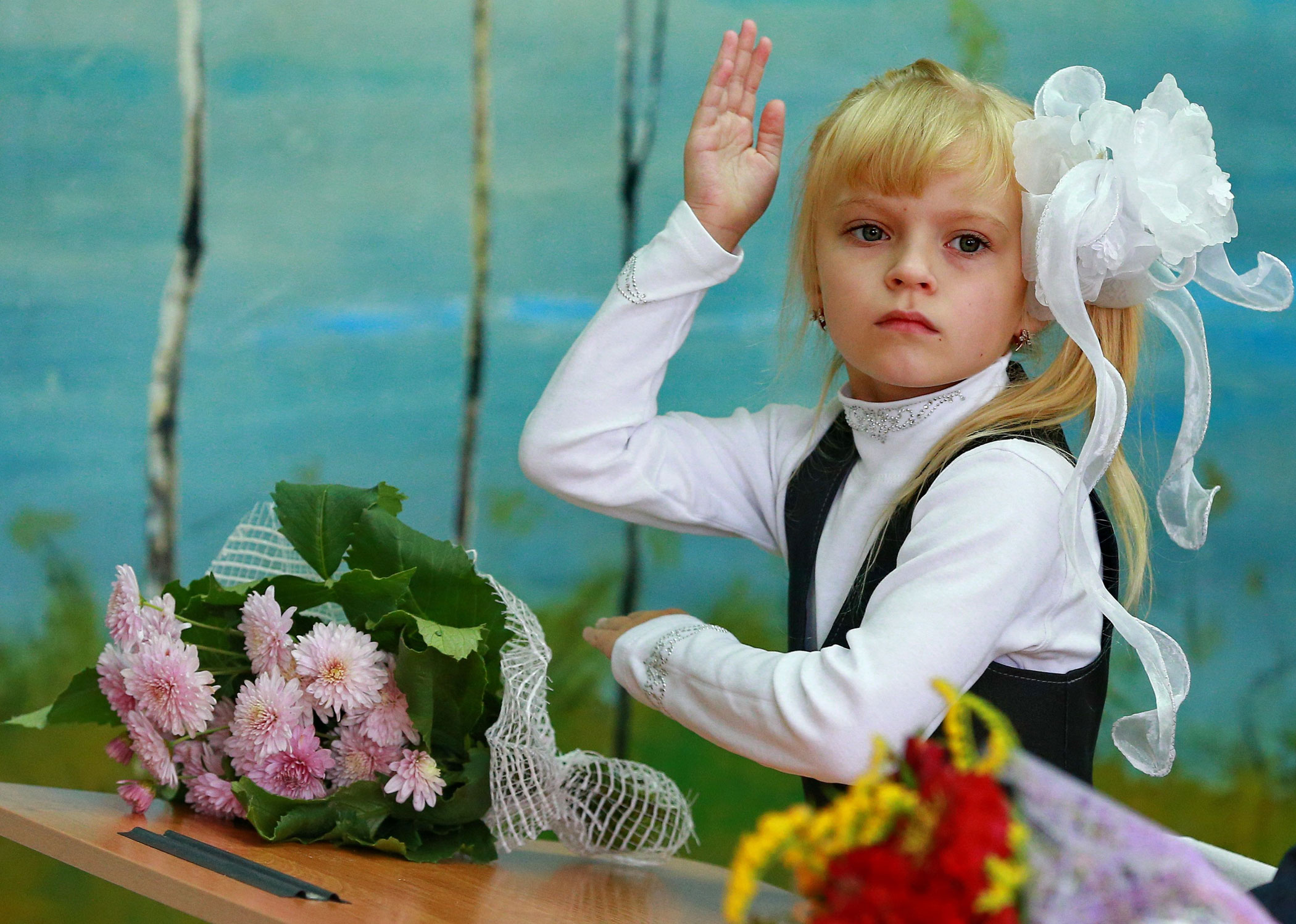 First grade students during a class in one of the local schools at the start of a new school year on Knowledge Day in Ivanovo, Russia on Sept 1, 2014