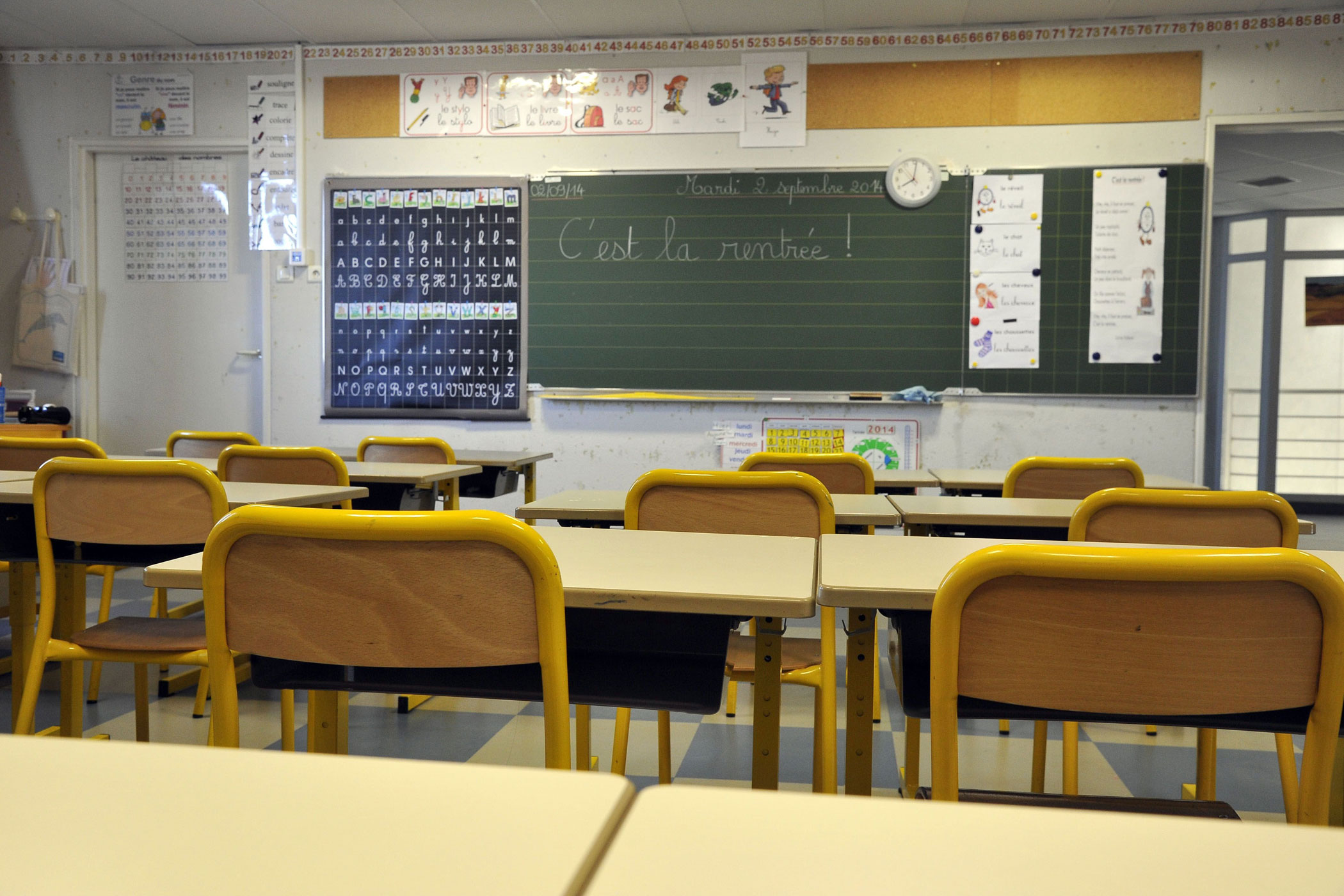 A general view of a classroom on the first day of class in the new school year in Nice, France, on Sept. 2, 2014.