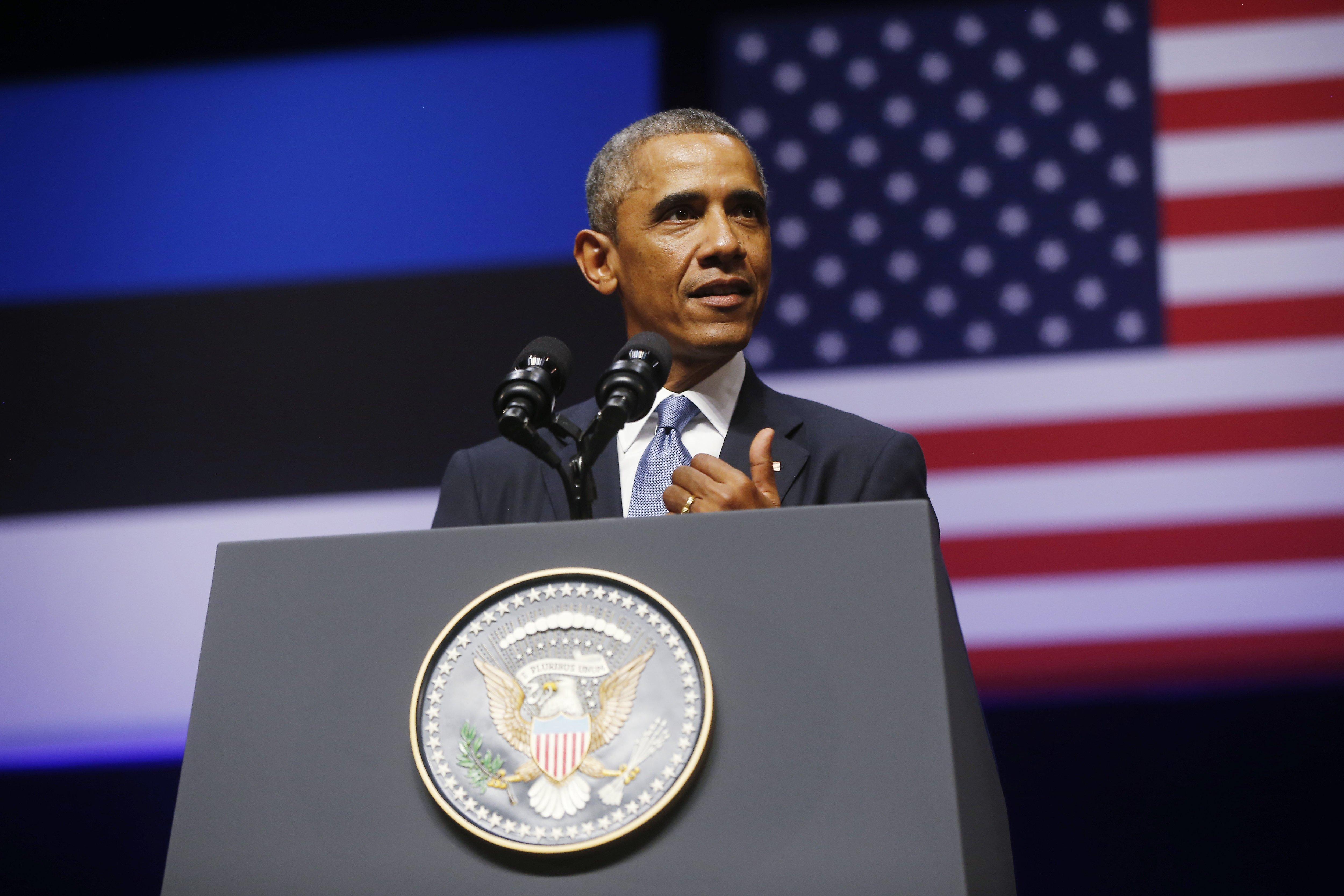 U.S. President Barack Obama speaks at Nordea Concert Hall in Tallinn, Estonia on Sept. 3, 2014.