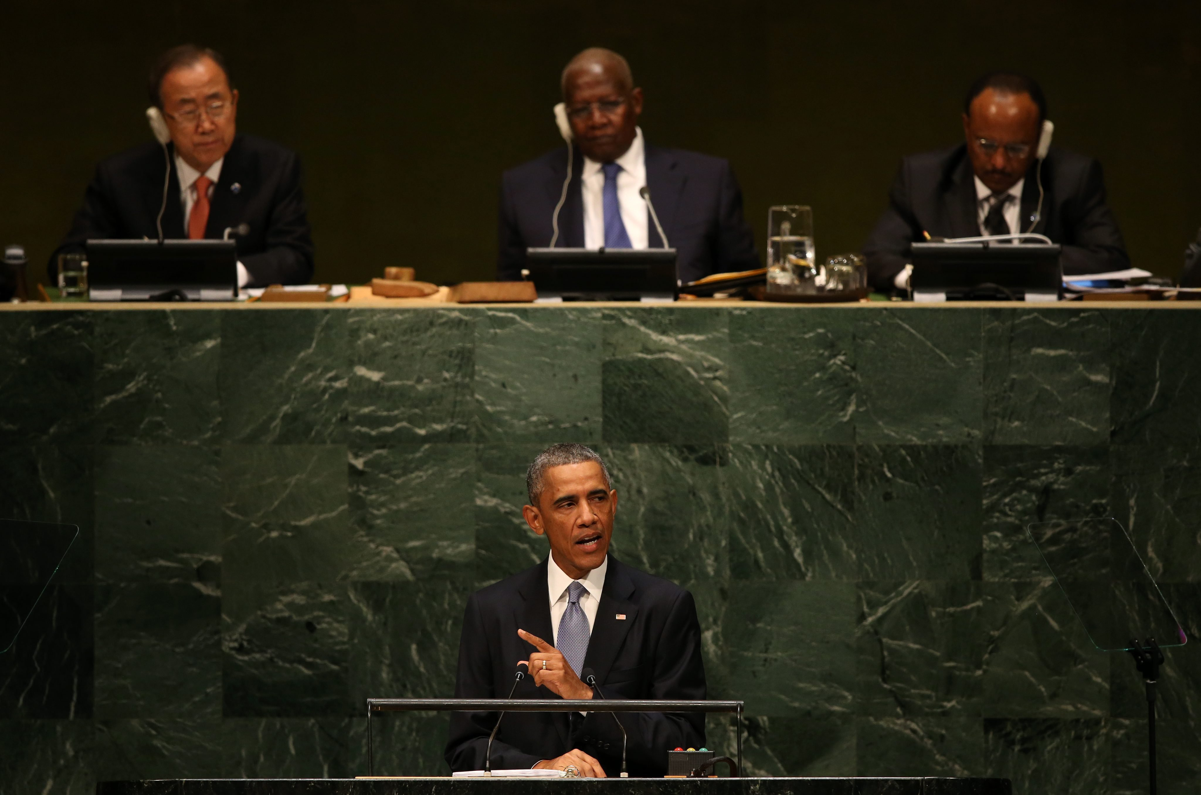 President Barack Obama speaks during the general debate of the 69th session of the United Nations General Assembly at the United Nations headquarters in New York on Sept. 24, 2014.
