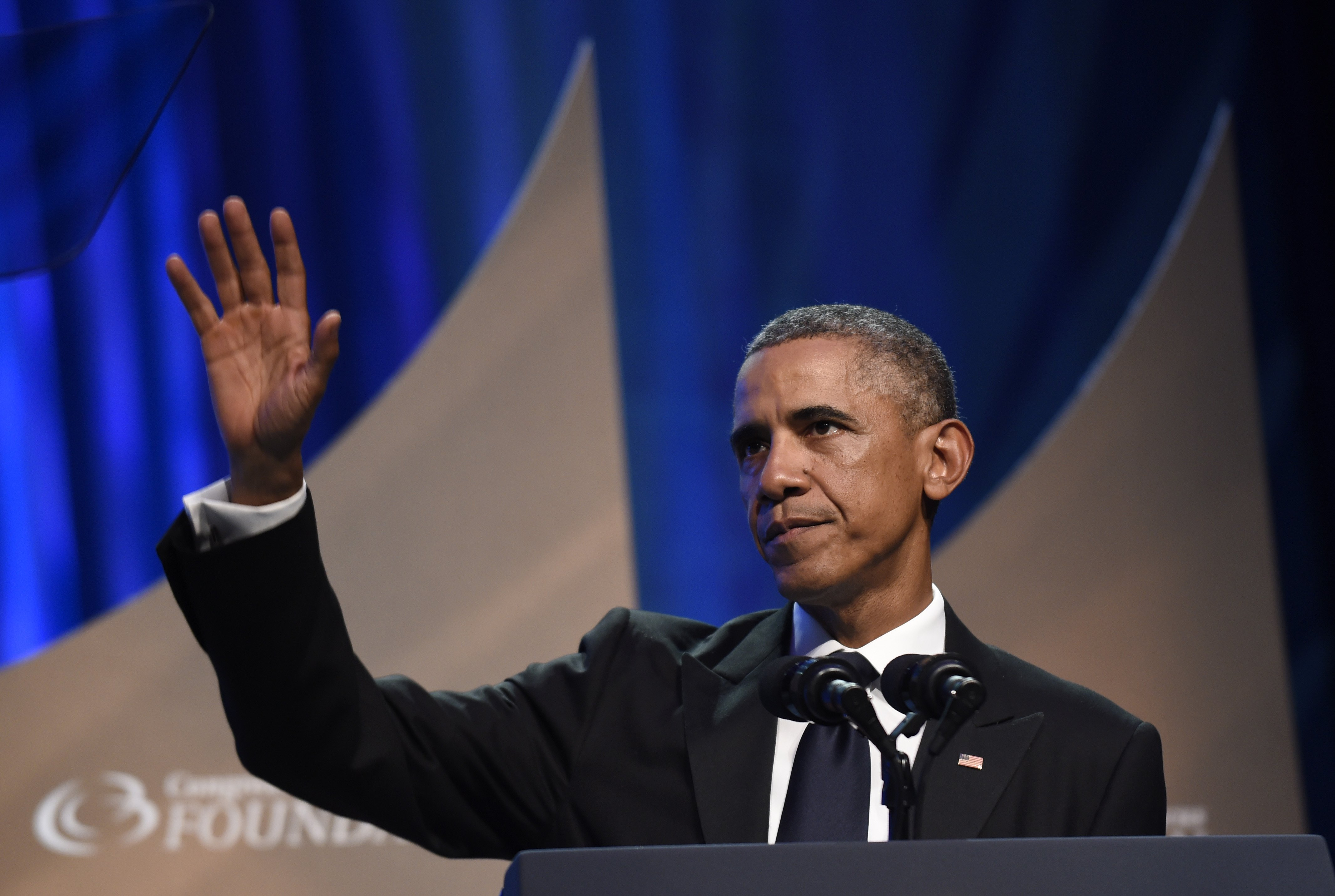 President Barack Obama waves to the crowd after speaking at the Congressional Black Caucus Foundation''s 44th Annual Legislative Conference Phoenix Awards Dinner in Washington, D.C., on Sept. 27, 2014