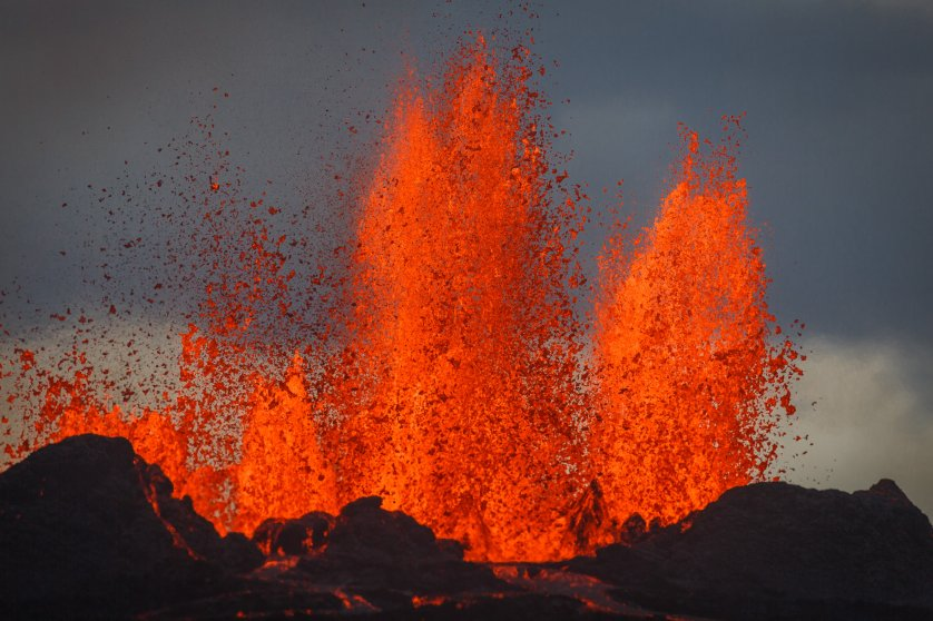Lava erupts up to 100 meters in the air at Bardarbunga, Sept. 2, 2014.