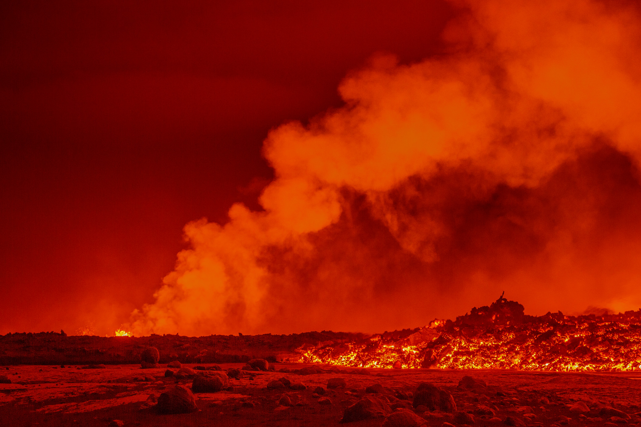 Glowing lava flows from an eruption at the Holuhraun lava field near Bardarbunga. Sept. 2.