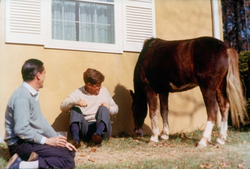 Virginia. President John F. Kennedy sits with Benjamin C. Bradlee outside of the Kennedy family residence Wexford on Nov. 10 1963 in Atoka, VA.