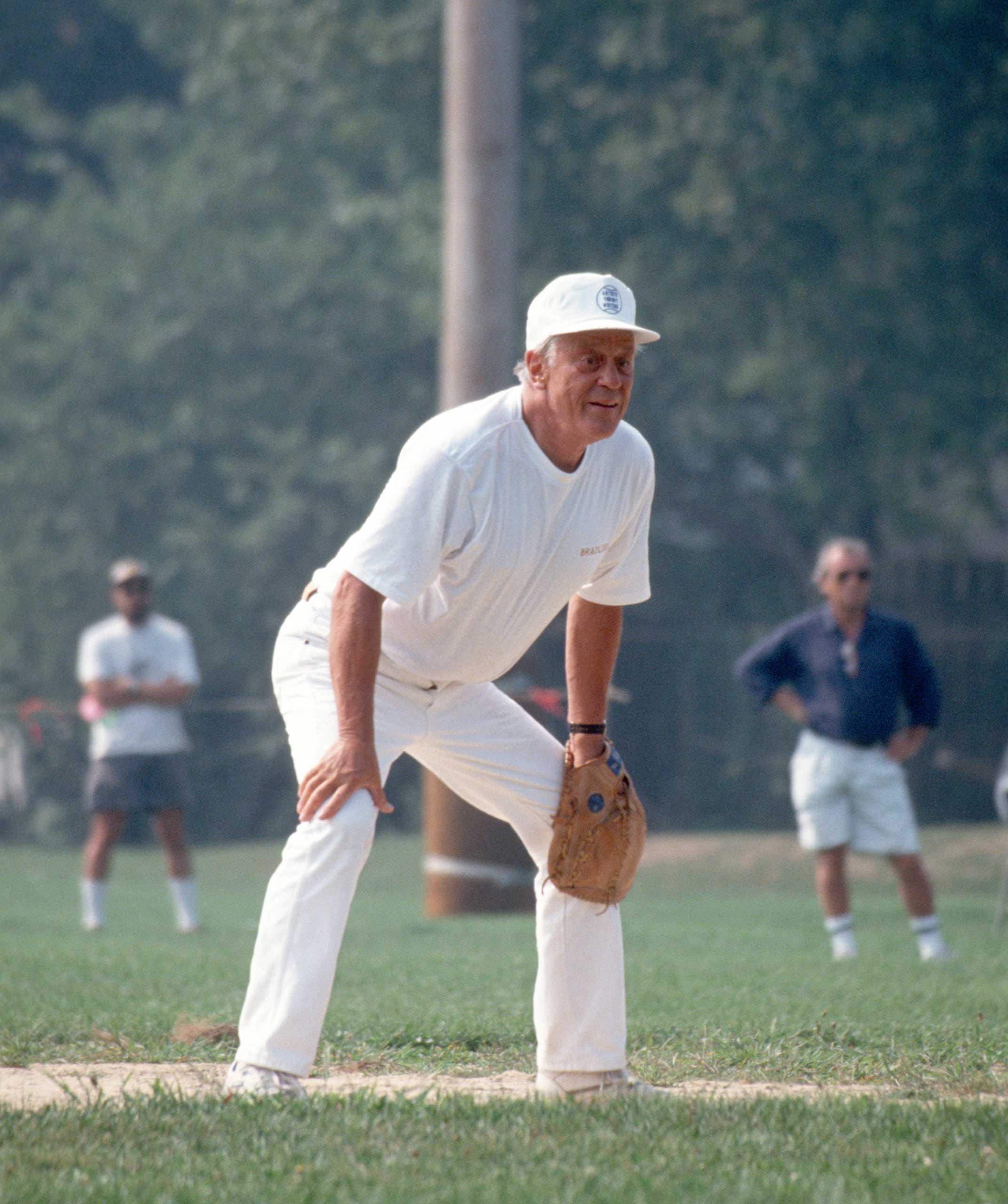 Benjamin Bradlee during the 1991 Writers Vs. Artists softball game in East Hampton, N.Y., on Aug. 17, 1991.