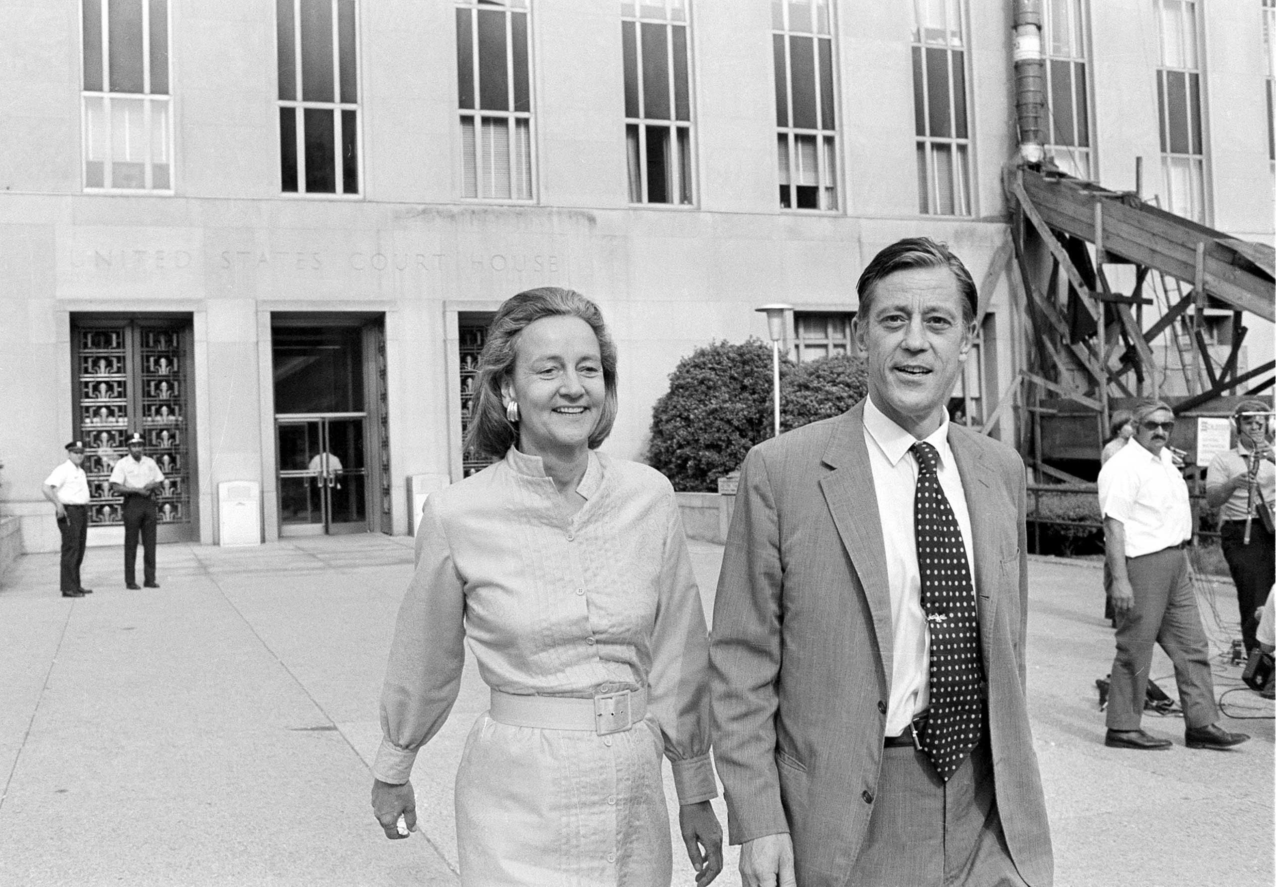 From Left: Katharine Graham, publisher of the Washington Post, and Benjamin Bradlee, executive editor of the Washington Post, leave U.S. District Court in Washington, D.C., on June 21, 1971. The newspaper got the go-ahead to print Pentagon papers on Vietnam.
