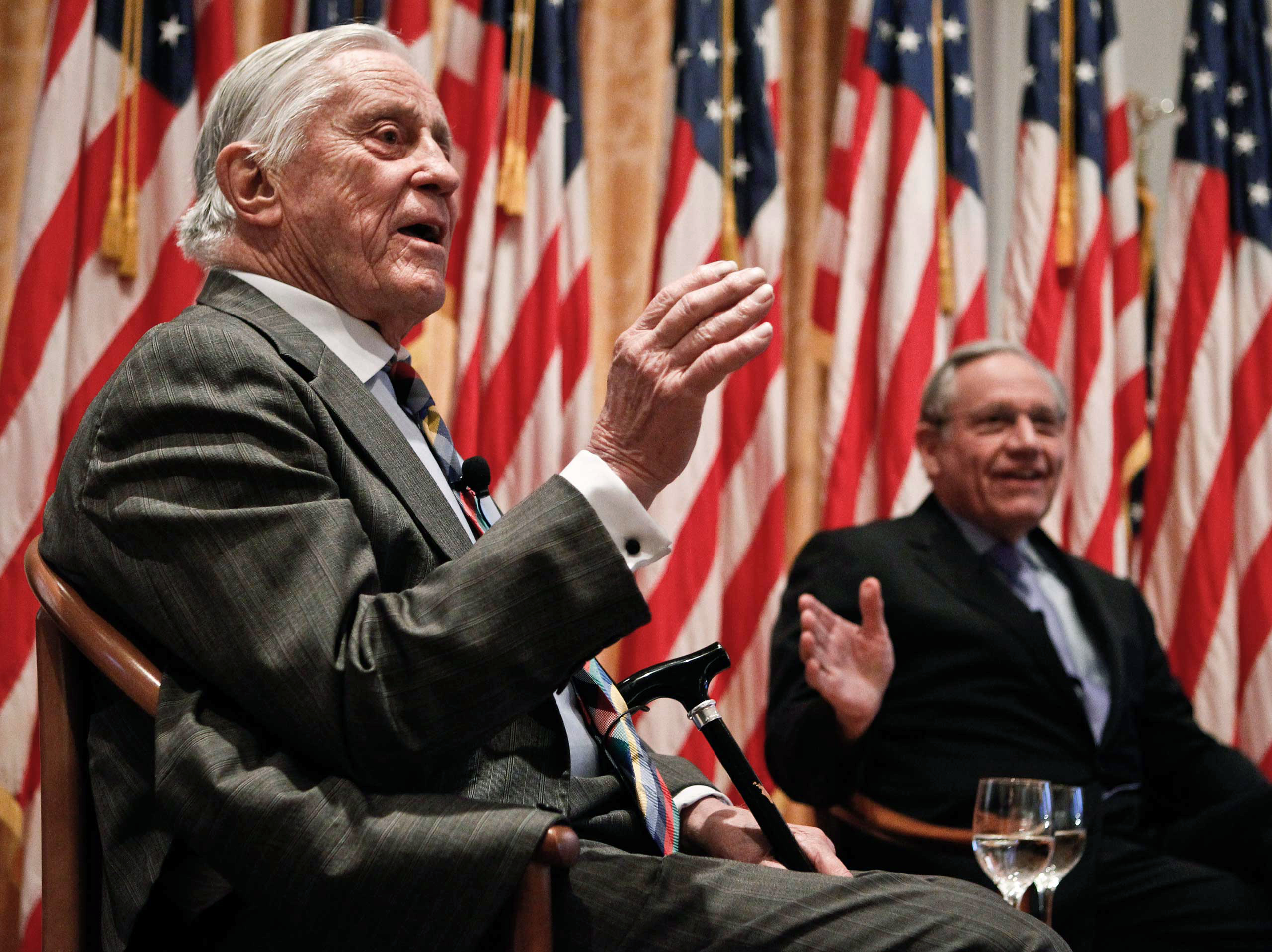 From Left: Benjamin Bradlee and reporter Bob Woodward talk during the program  Remembering Watergate: A Conversation  at the Richard Nixon Presidential Library and Museum in Yorba Linda, Calif., on April 18, 2011.
