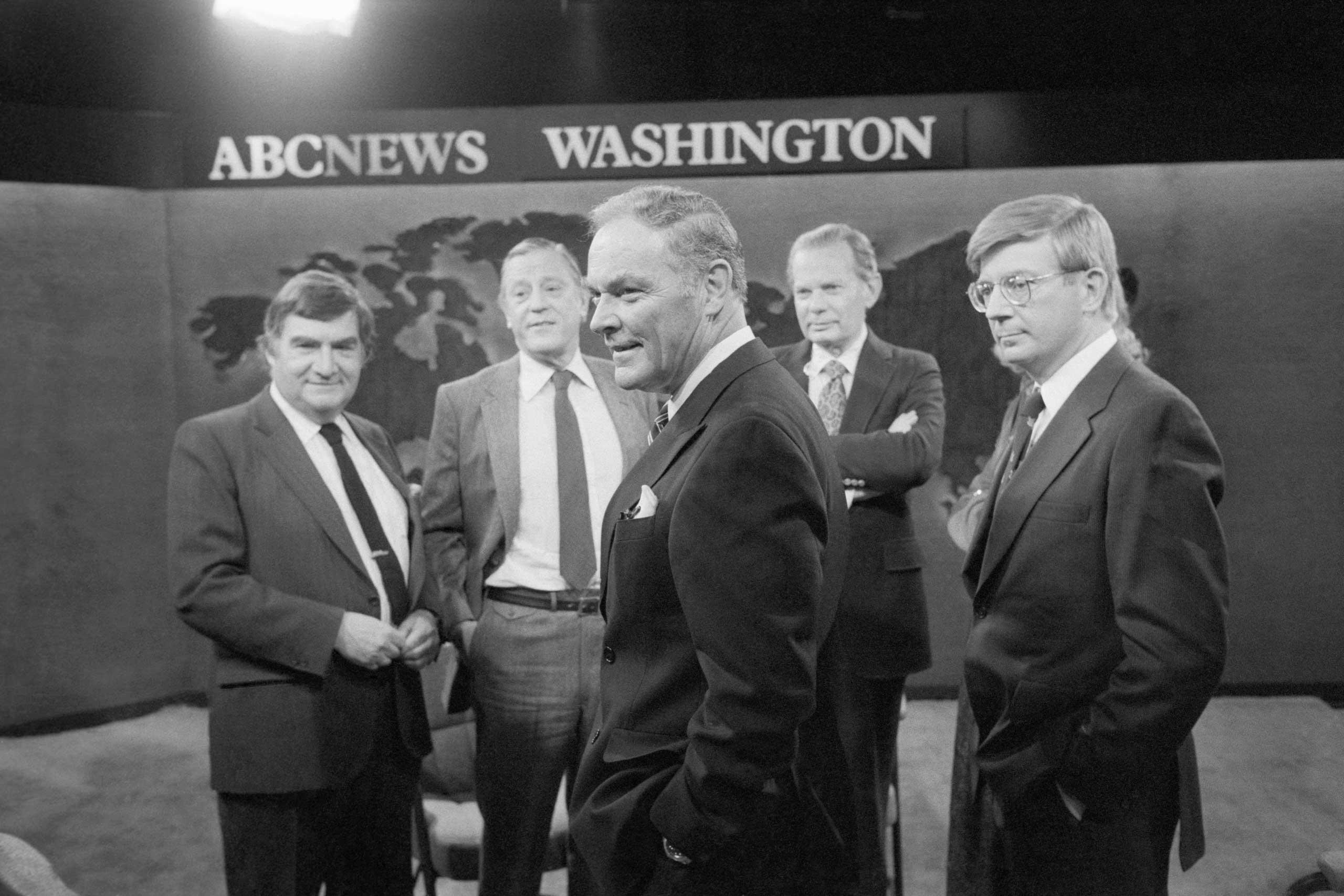 From Left: ABC Paris Bureau Chief Pierre Salinger, Washington Post Editor Benjamin Bradlee, David Brinkley and Alexander Haig (front center) before appearing on  This Week with David Brinkley  on Nov. 22, 1981.