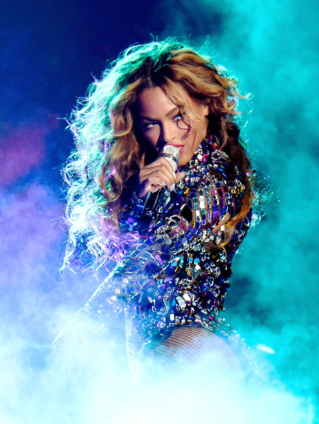 Beyonce performs onstage during the 2014 MTV Video Music Awards rehearsals at The Forum on August 23, 2014 in Inglewood, California.