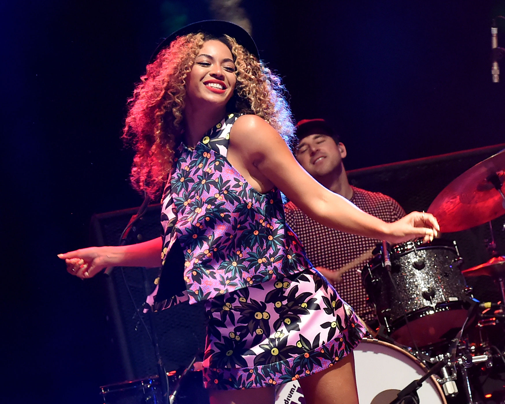 Beyonce performs with her sister Solange onstage during day 2 of the 2014 Coachella Valley Music & Arts Festival at the Empire Polo Club on April 12, 2014 in Indio, California.
