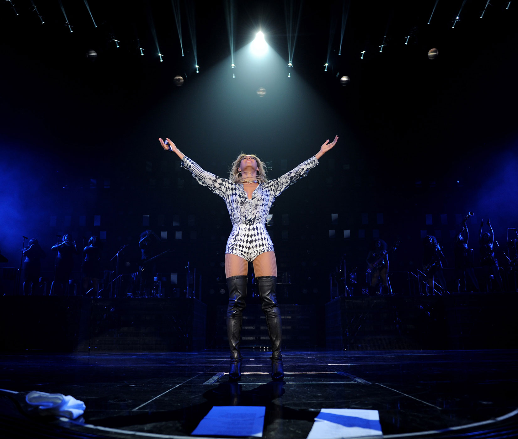 "Beyonce performs on stage during ""The Mrs. Carter Show World Tour"" at the Barclays Center on December 22, 2013 in New York, New York."