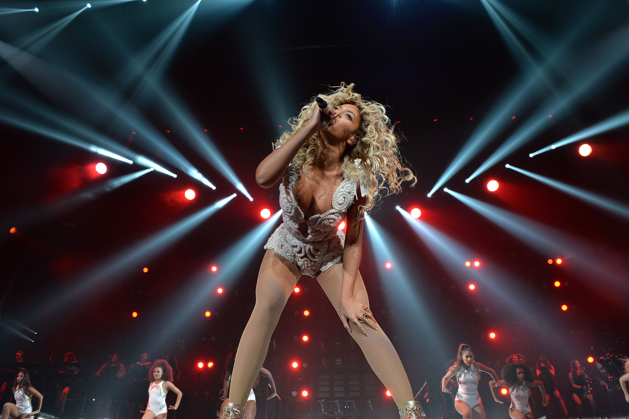 "Beyonce performs on stage during ""The Mrs. Carter Show World Tour"" at the Staples Center on December 3, 2013 in Los Angeles, California."