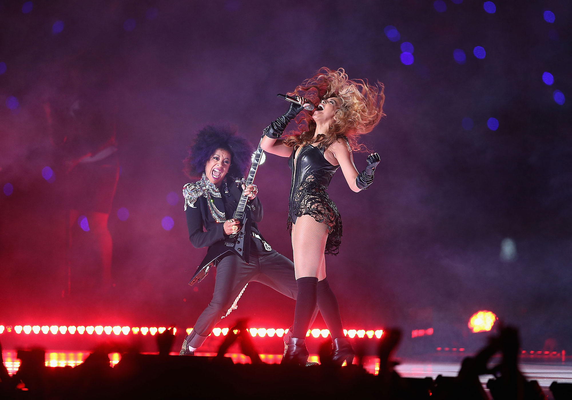 Beyonce and Bibi McGill perform during the Pepsi Super Bowl XLVII Halftime Show at the Mercedes-Benz Superdome on February 3, 2013 in New Orleans, Louisiana.