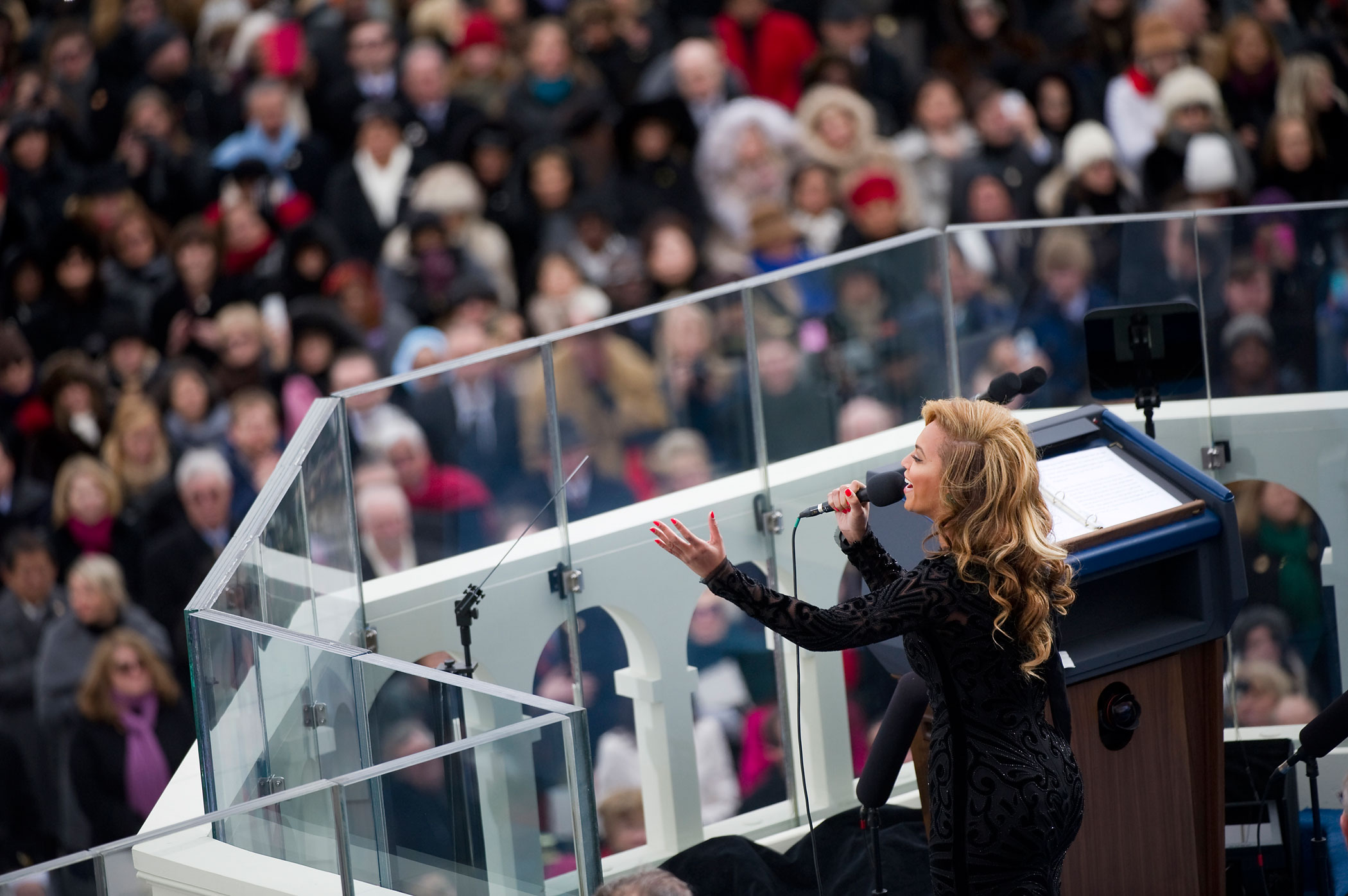 Beyonce sings the National Anthem at the inauguration for U.S. President Barack Obama's second term of office.