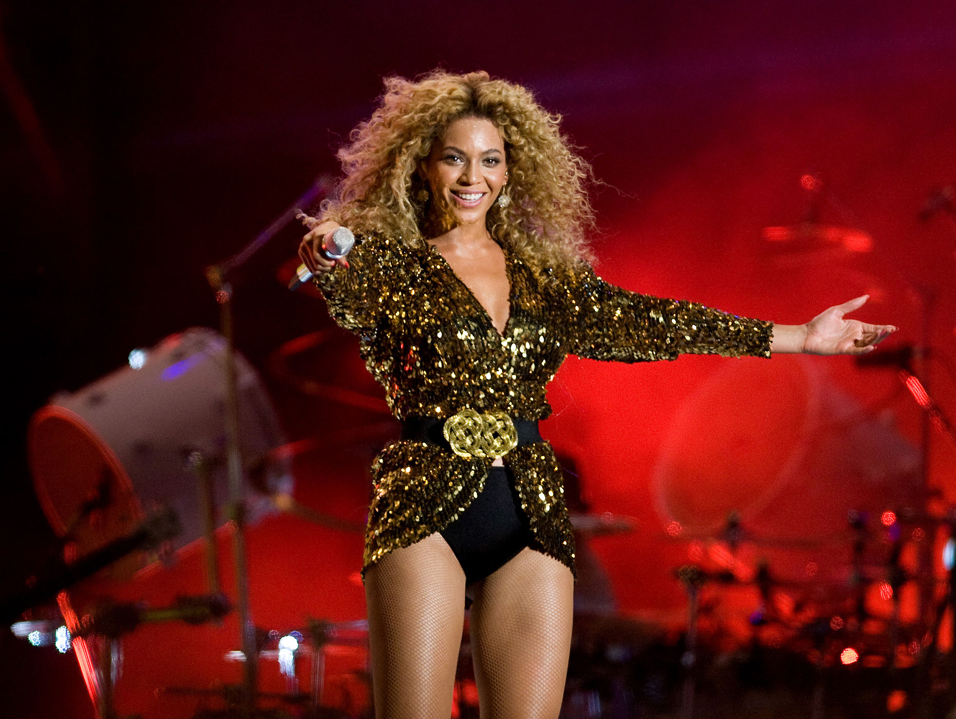 Beyonce headlines the Pyramid Stage at the Glastonbury Festival at Worthy Farm, Pilton on June 26, 2011 in Glastonbury, England.
