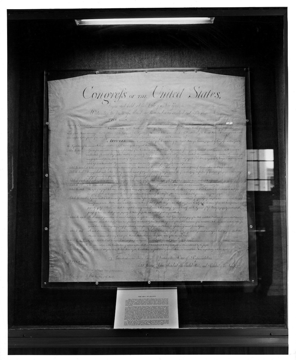 Original Bill Of Rights on display at the Library Of Congress in Washington, DC, in 1955.