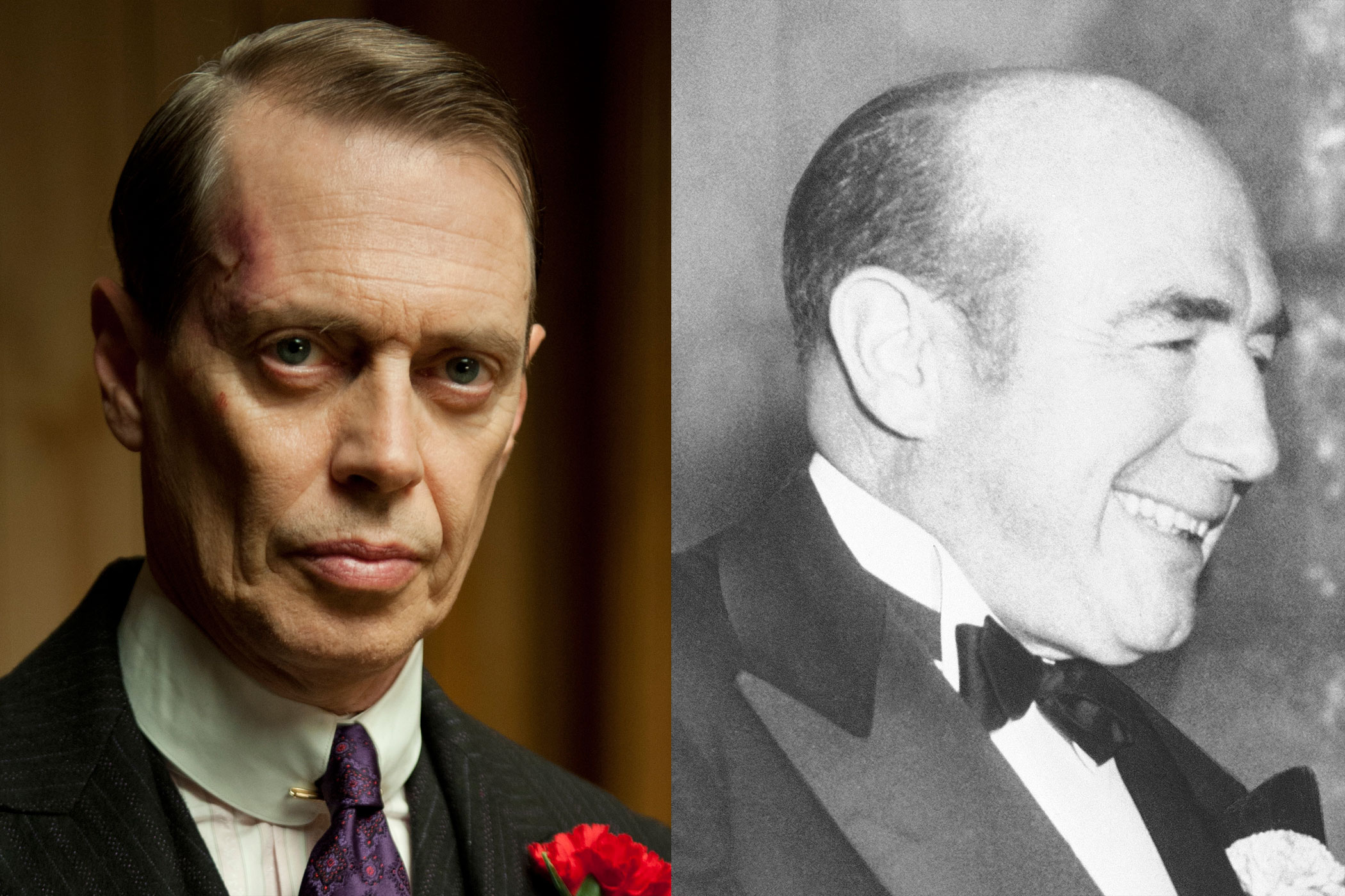 Enoch  Nucky  Thompson:                               Steve Buscemi's  Nucky  Thompson may be a murdering, bootlegging, Machiavellian racketeer, but his real life equivalent, Atlantic City Republican Enoch L.  Nucky  Johnson, was more modest: a near lifelong teetotaler, he still saw fit to take cuts from local bootlegger profits and managed to land ten years in prison for tax evasion.