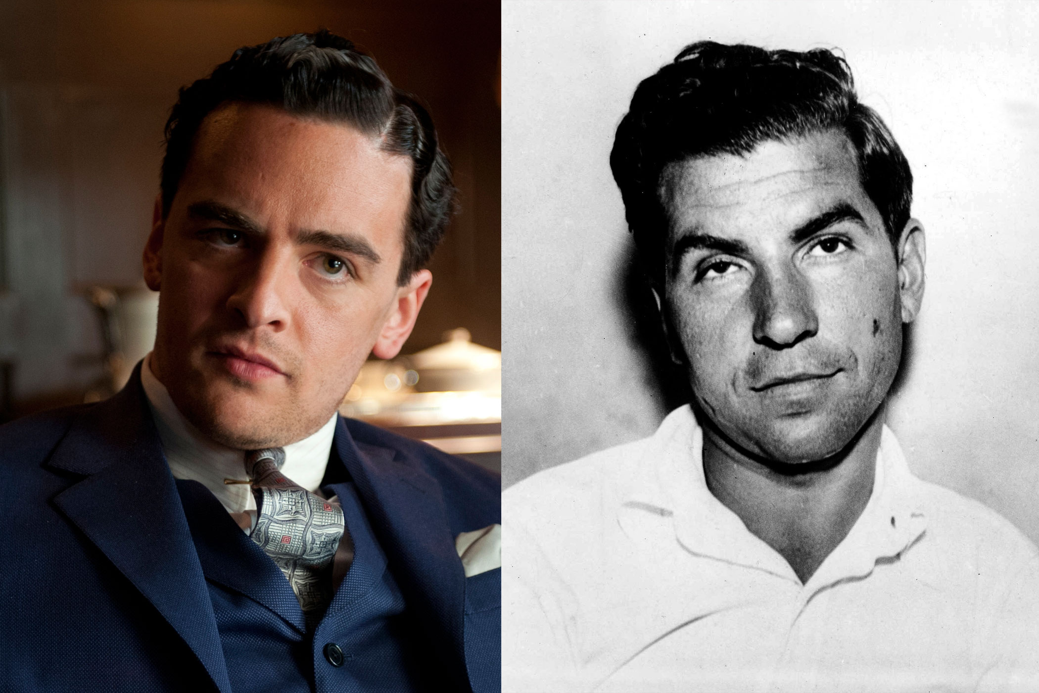 Lucky Luciano:                               Charles  Lucky  Luciano is often considered the father of modern day organized crime in the U.S., having been instrumental in setting up the National Crime Syndicate with Meyer Lansky. Vincent Piazza's Boardwalk version seems destined for infamy, just like his real-life counterpart.