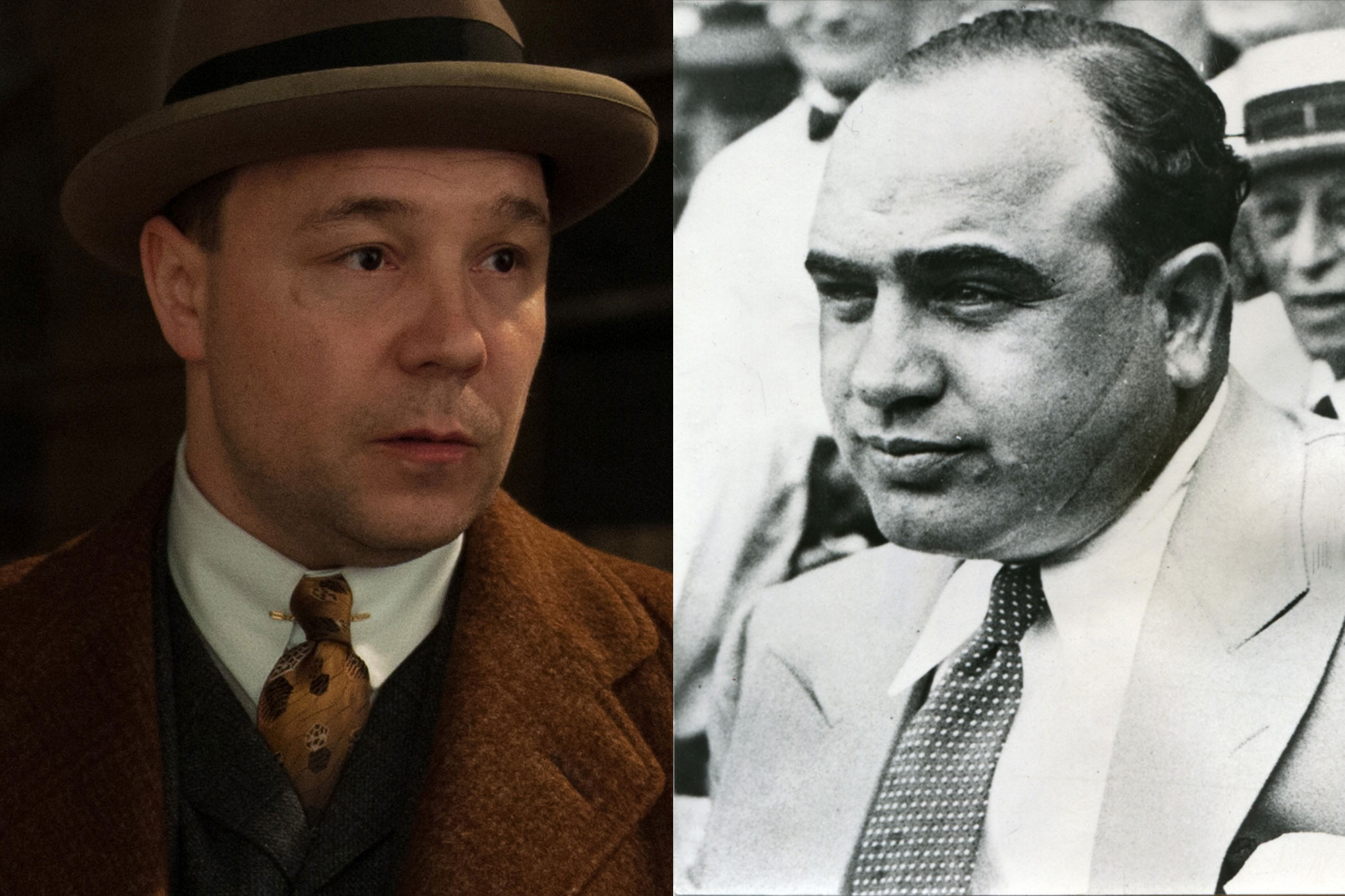 Al Capone:                               Probably the most  fictionalized and oft-portrayed of all mobsters, real-life Al Capone's beat was of course Chicago, not Atlantic City. But many critics agree, Stephen Graham's Boardwalk Capone is pretty good, if a little short in stature.