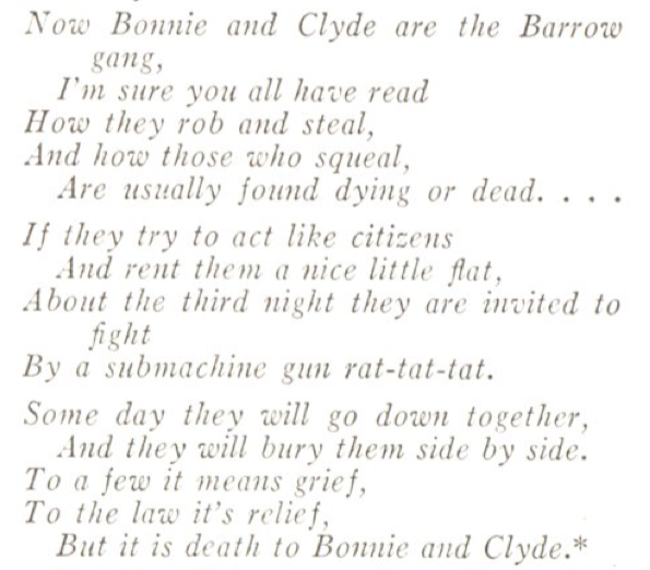 A poem by Bonnie Parker, published in the June 4, 1934, issue of