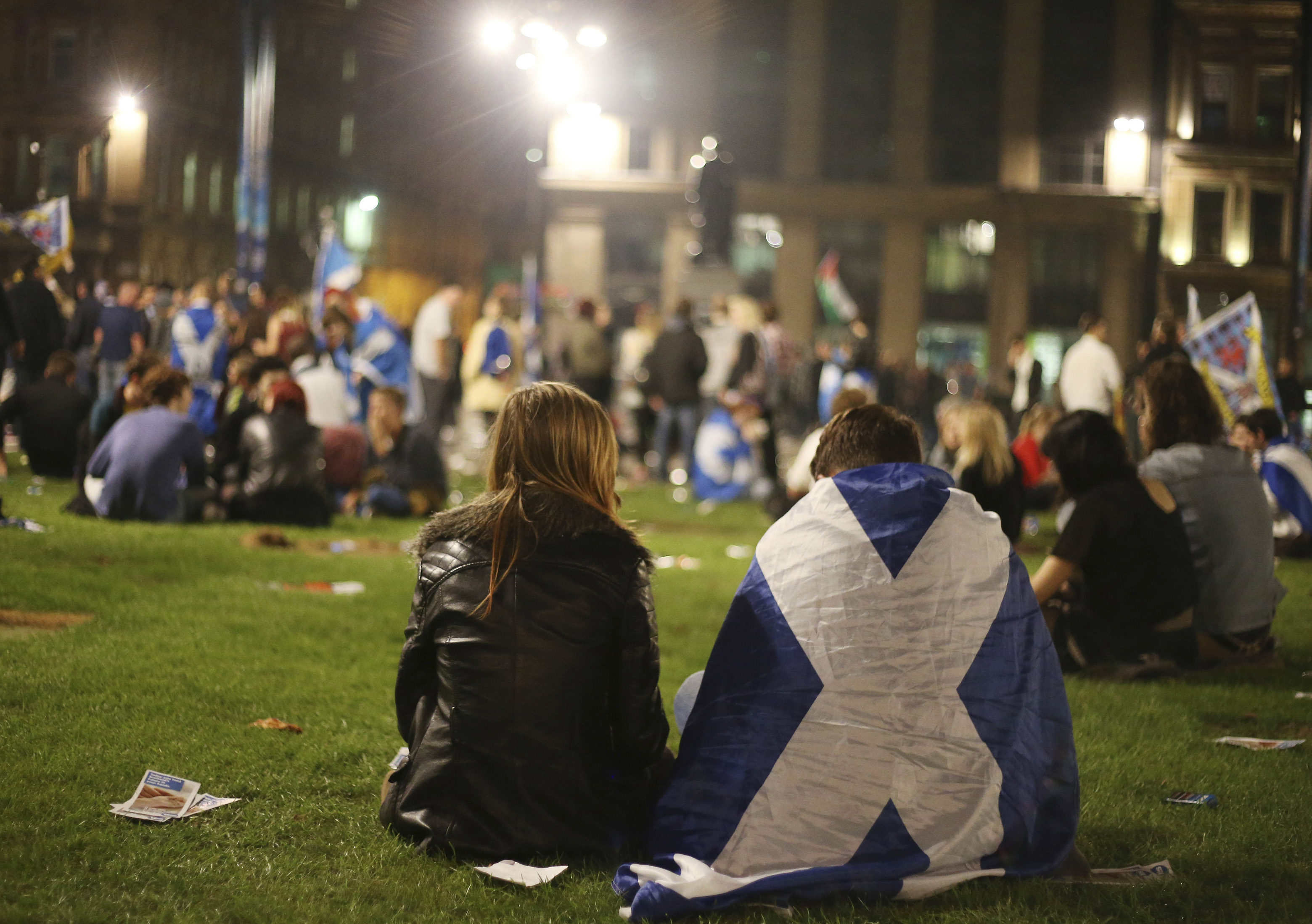 Yes campaign supporters in the Scottish referendum gather in George Square in Glasgow, Scotland, on Sept. 19, 2014