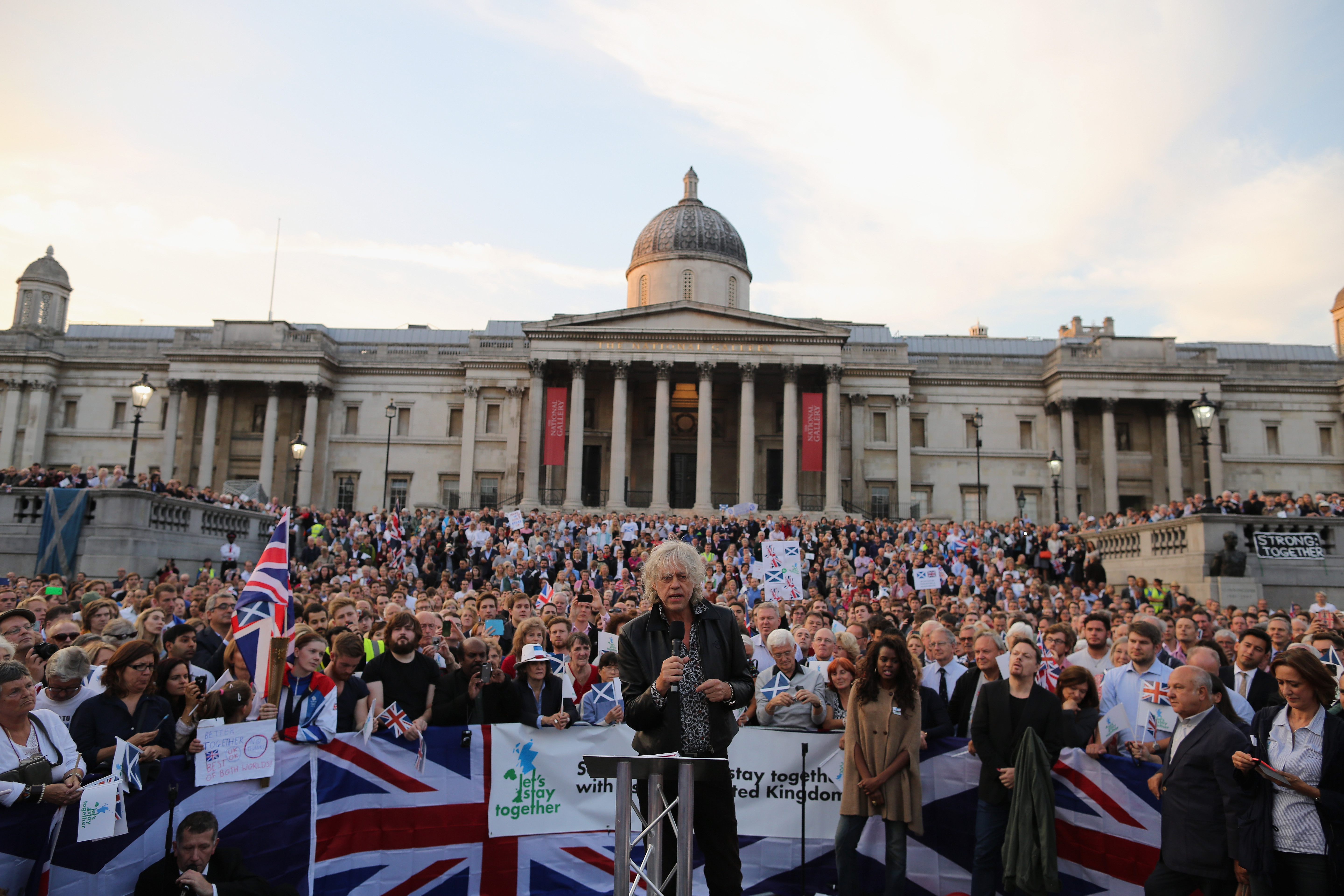 Musician Bob Geldof speaks to members of the public and supporters of the Better Together campaign at Trafalgar Square in London on Sept. 15, 2014