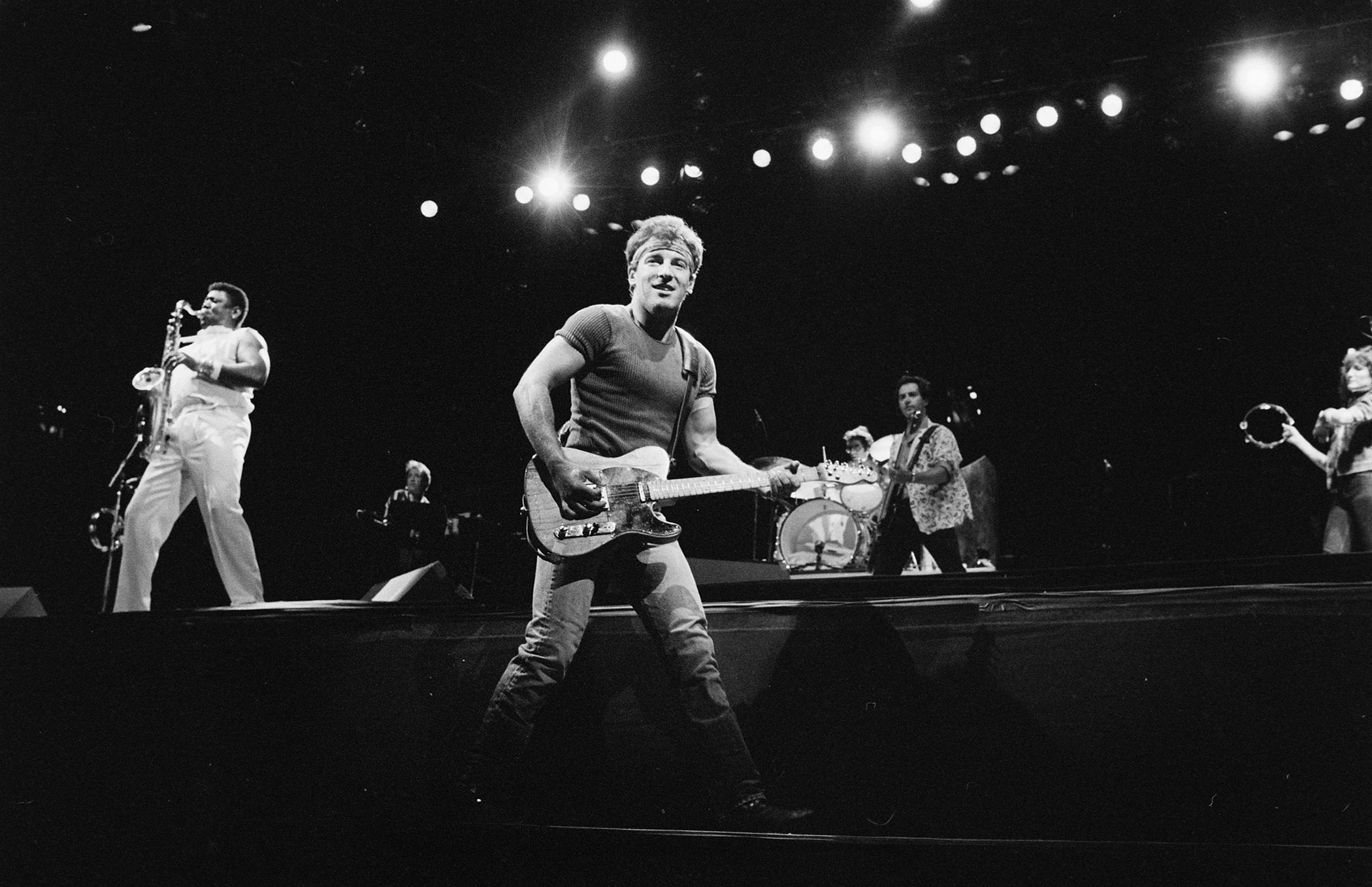 """1985:                                Springsteen beat out David Bowie, Billy Idol, Elton John and John Mellencamp for the Grammy for Best Rock Vocal Performance for his song, """"Dancing in the Dark."""" The incredibly catchy tune was Springsteen's biggest hit and inadvertently made Courteney Cox a star, after casting the then-unknown actress in the video."""