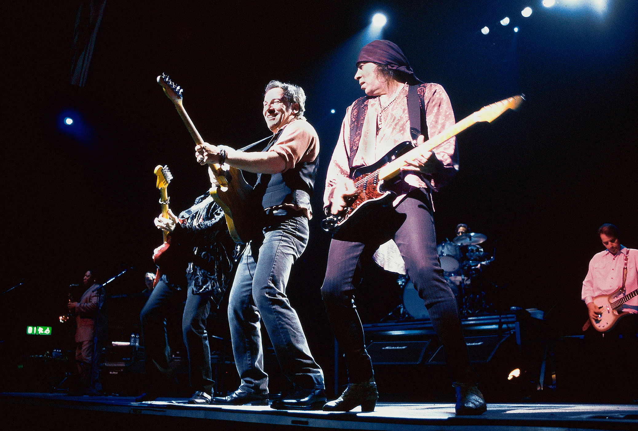 1999:                                Springsteen reunited with the E Street Band to relive their glory days. Guitarists Steve Van Zandt, Nils Lofgren and Patti Scialfa, keyboardists Roy Bittan and Danny Federici, bassist Garry Tallent, drummer Max Weinberg and saxophonist Clarence Clemons hit the road with Springsteen for sold-out reunion tour that brought fans out in droves to witness their legendary marathon performances.