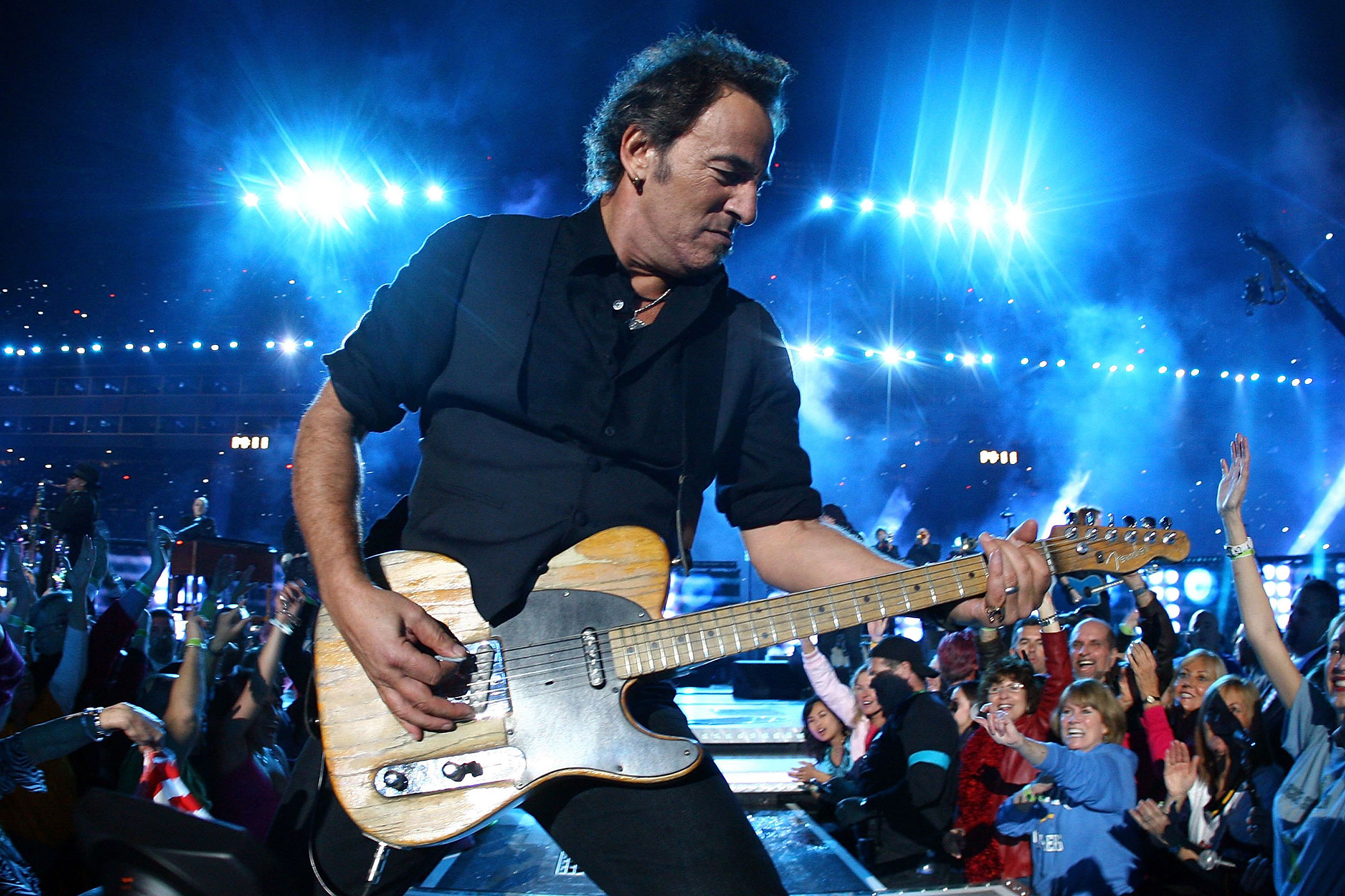 """2009:                                Springsteen performed at the halftime show at Super Bowl XLIII. The band went all out for the show, bringing out the classics from  Born to Run  to  Glory Days  and even the group's creation myth tale,  Tenth Avenue Freeze-Out."""""""