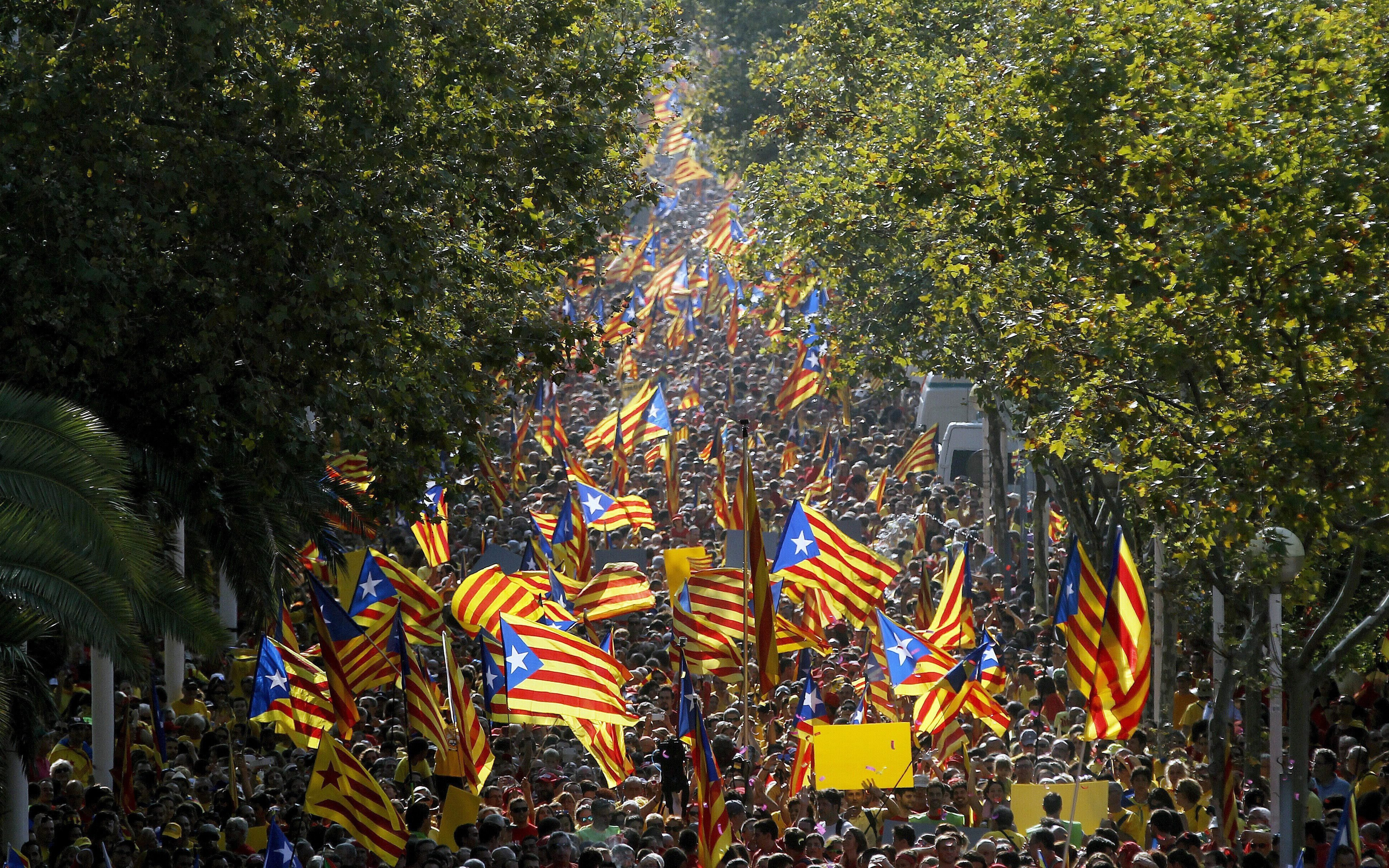 Thousands of people attend a rally to support the referendum on Catalonia's independence in Barcelona, Catalonia, Spain on Sept. 11, 2014.