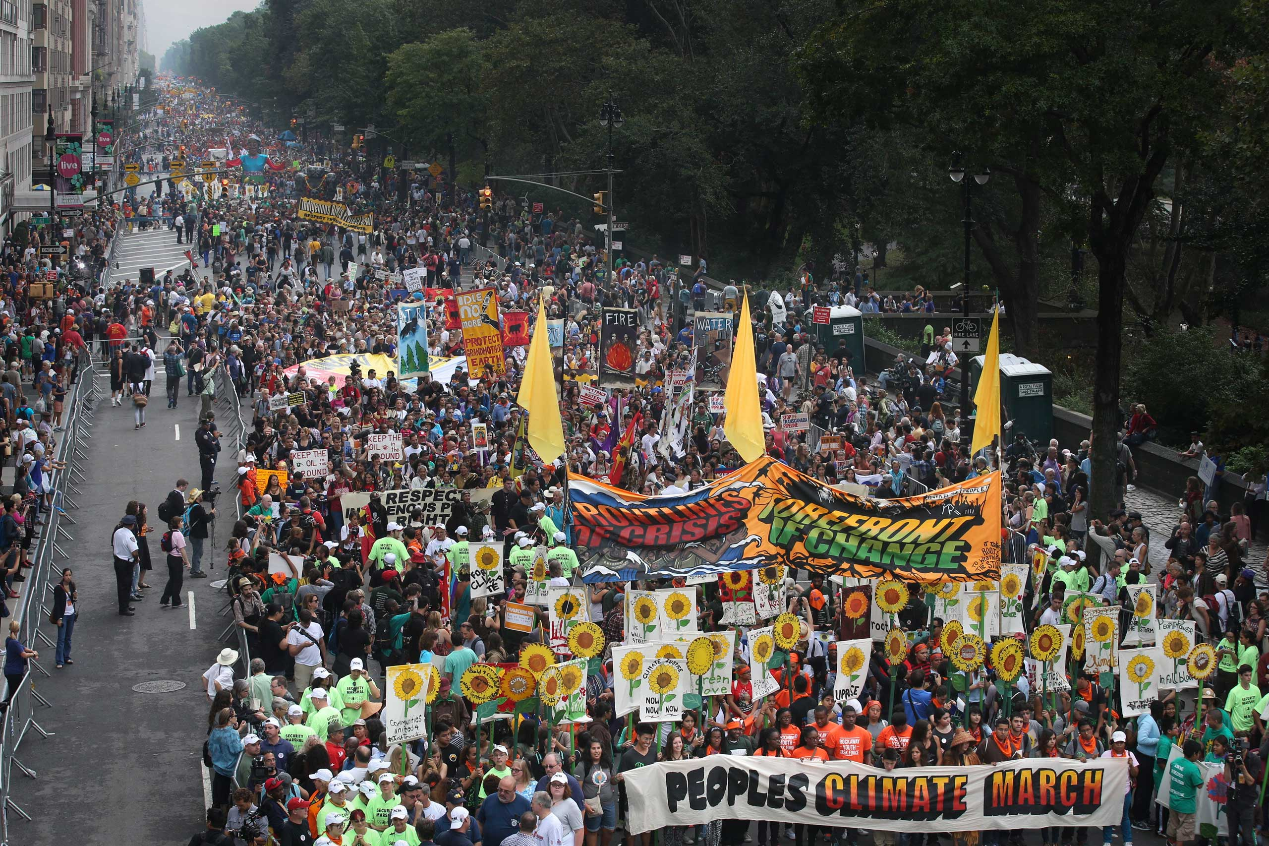 Hundreds of thousands of protesters take part in the People's Climate March in Manhattan, in New York City, on Sept. 21, 2014