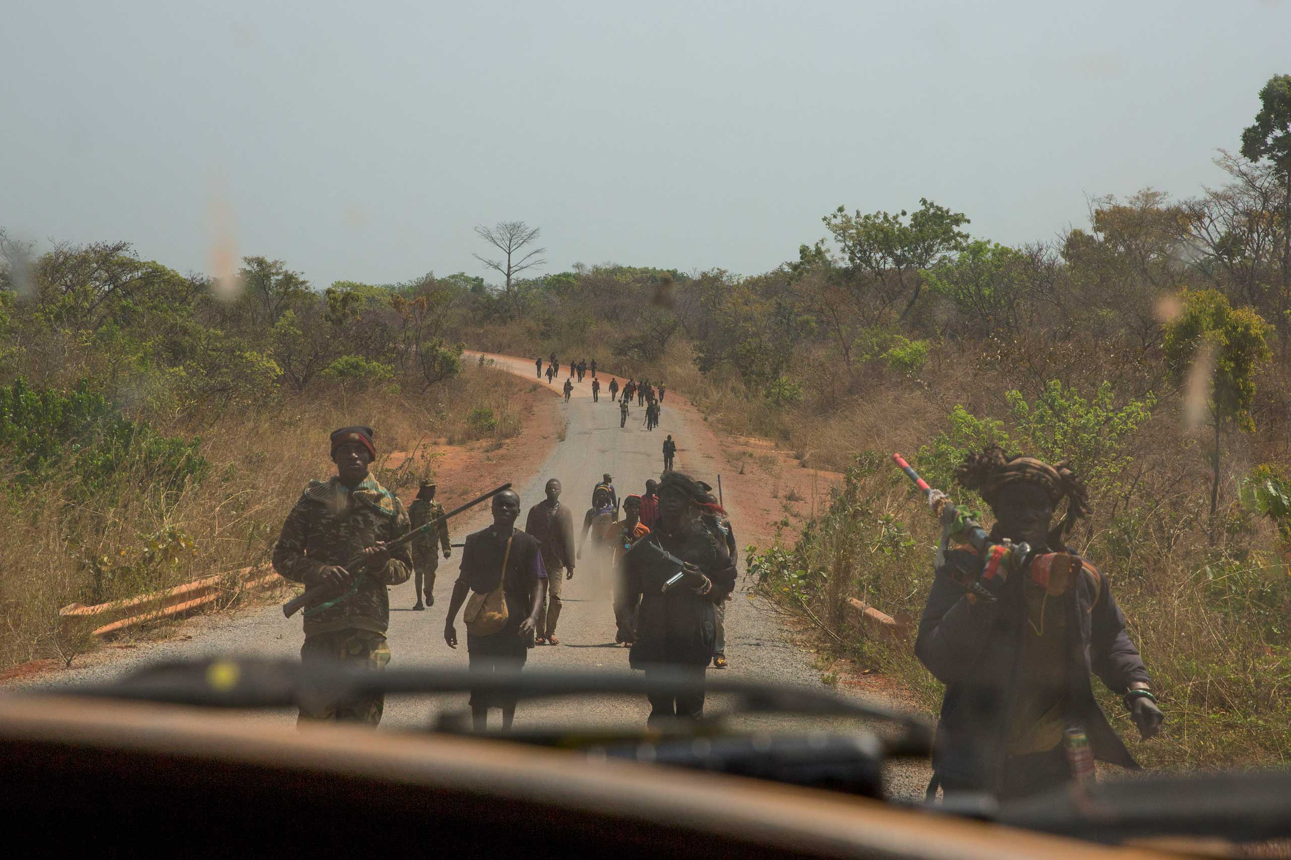 Jan. 30, 2014: A few hundred anti-balaka on the road between Bossemptélé and Zawa return from an attack on a Peuhl village.