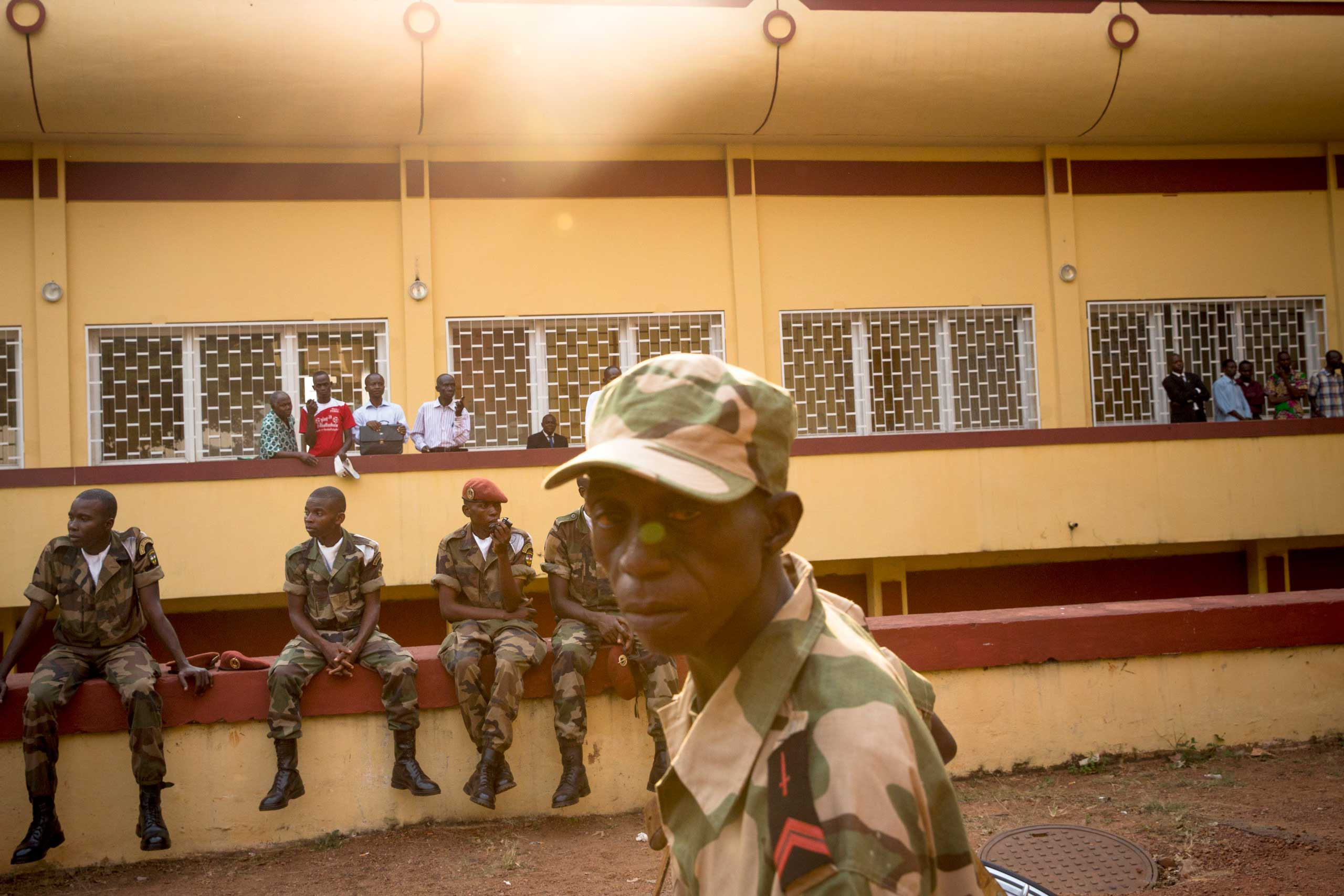 Jan. 24, 2014: Soldiers of Central African Republic's armed forces gather during the inauguration of interim President Catherine Samba-Panza, in Bangui.